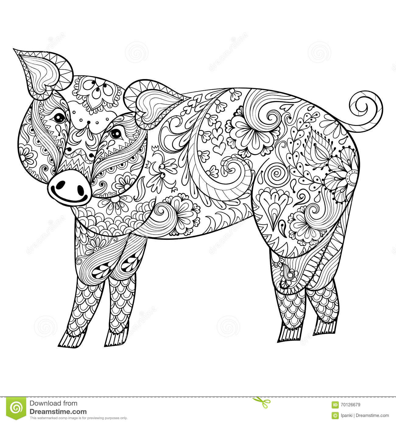 Vector Pig Zentangle Pig Illustration