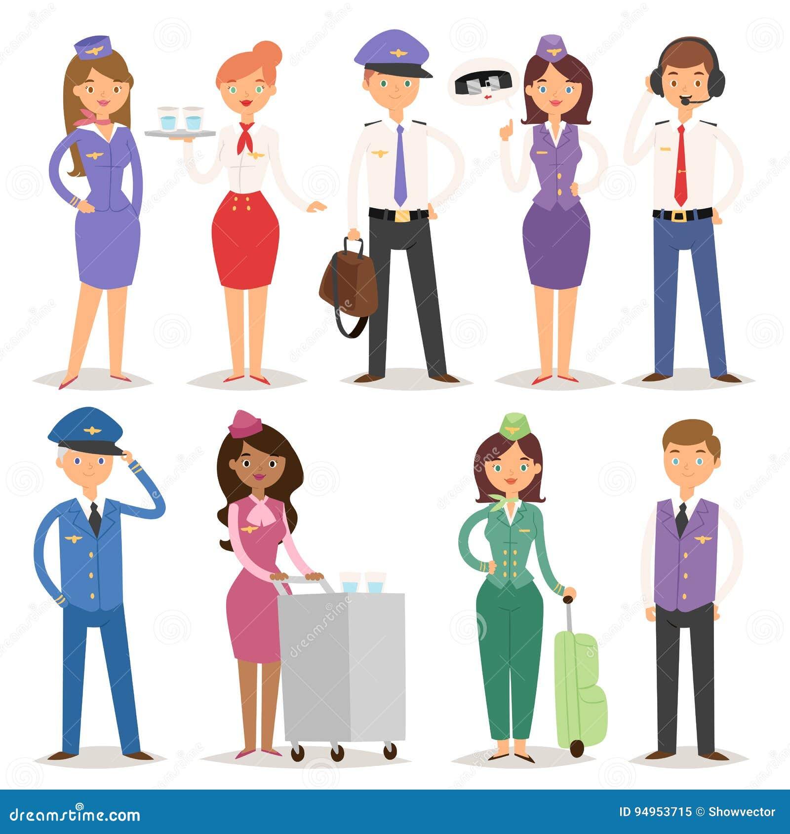Vector pilotos do pessoal de pessoais do plano da linha aérea da ilustração e os povos dos aeromoços da aeromoça de ar da comissá