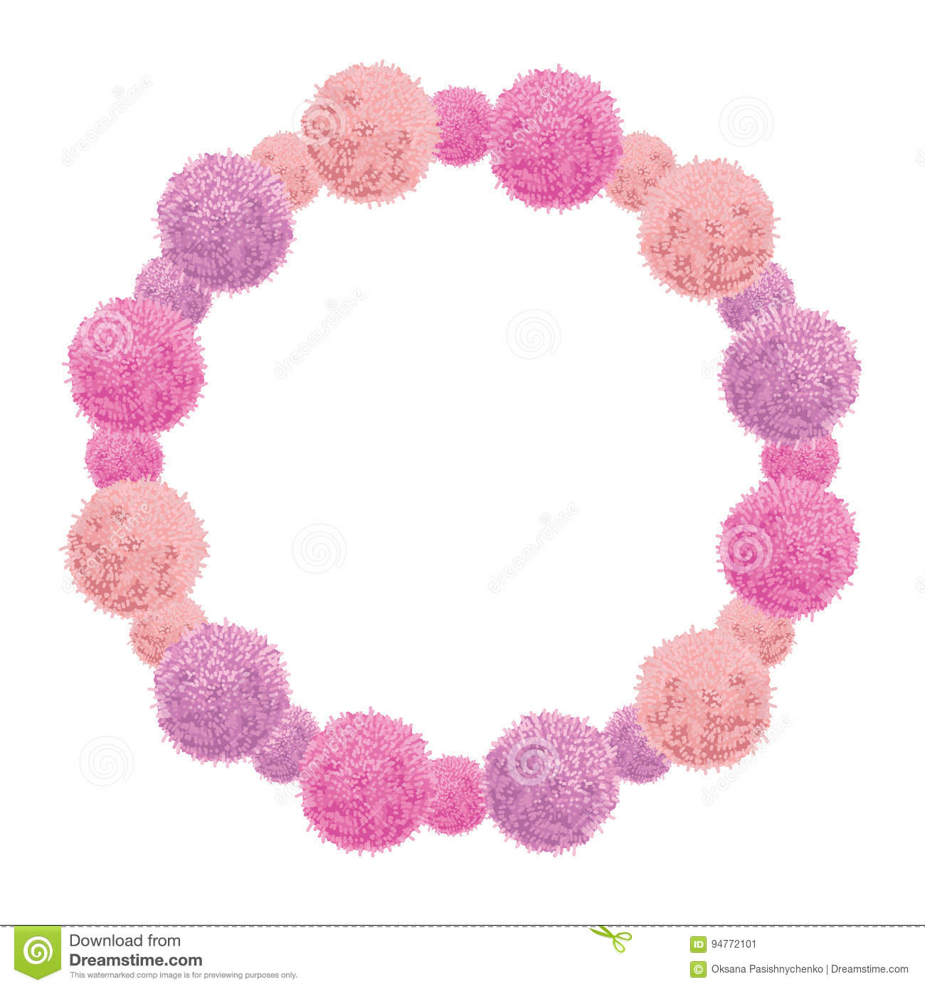 Vector Pink Baby Girl Birthday Wreath Party Pom Poms Circle Set And ...