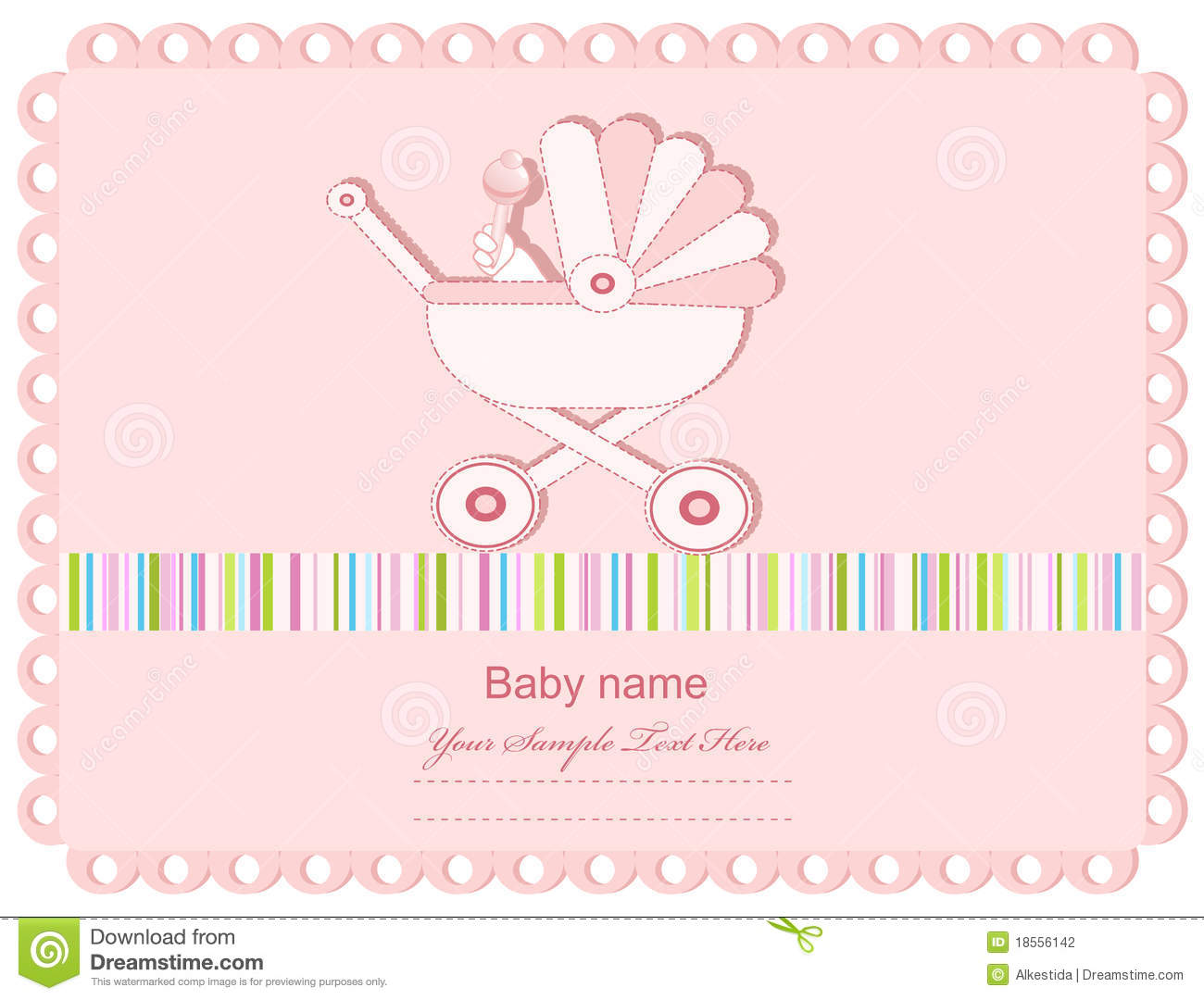 vector pink baby greeting card with a sidecar stock vector