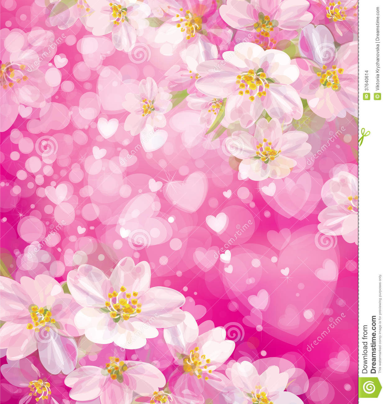Vector Pink Background With Hearts And Flowers Stock Image