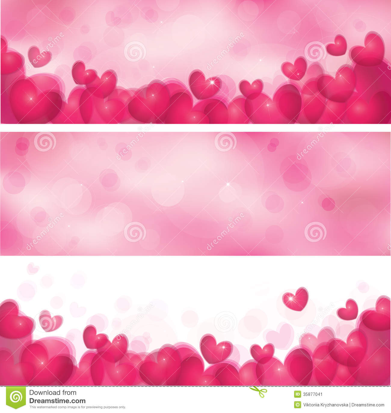 Vector pink banners with hearts stock