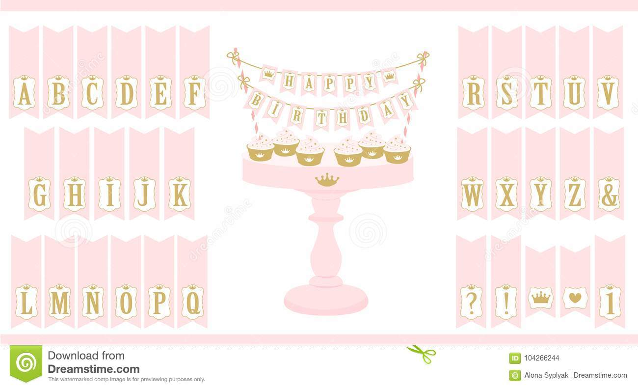 vector pink cake stand with cupcakes set of printable letters cake bunting