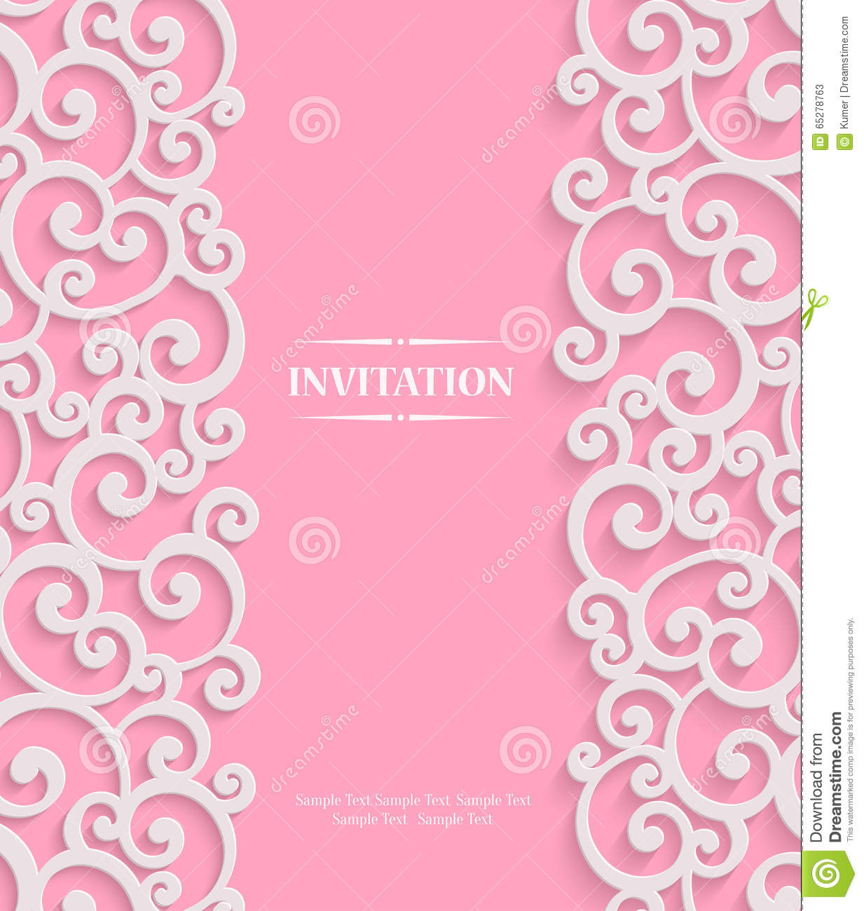 vector pink d vintage invitation card with floral stock vector, invitation samples
