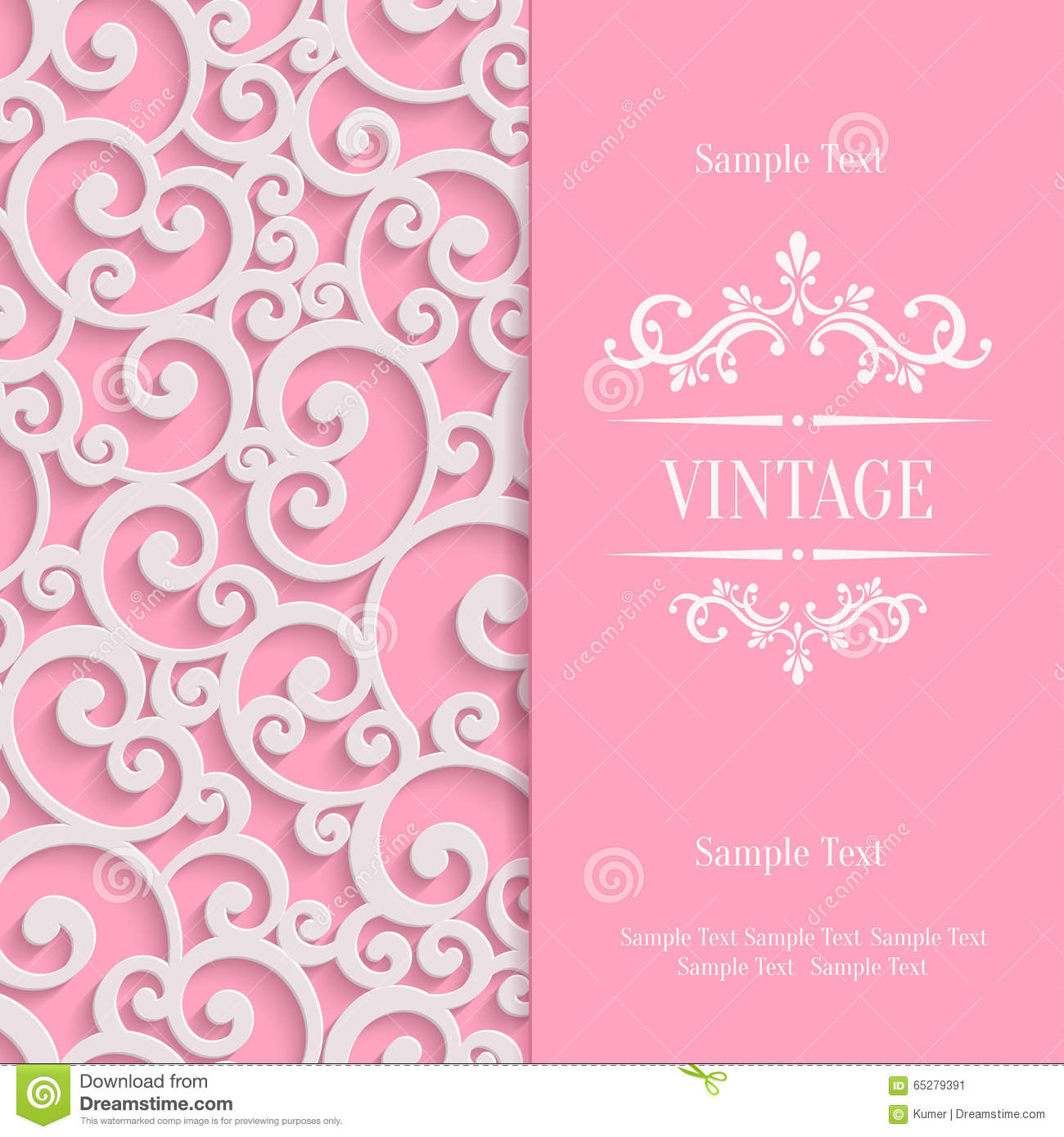 Vector pink 3d vintage invitation card with floral stock vector royalty free vector download vector pink 3d vintage invitation stopboris Image collections