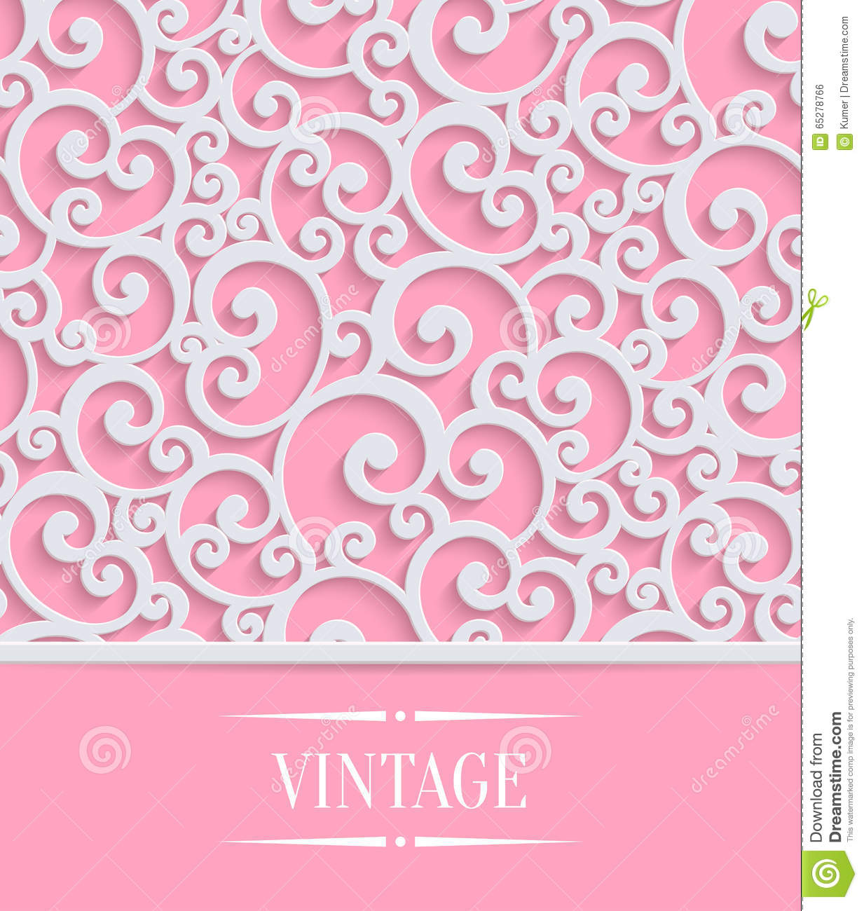 Vector pink 3d vintage invitation card with swirl stock vector vector pink 3d vintage invitation card with floral royalty free stock image stopboris Images