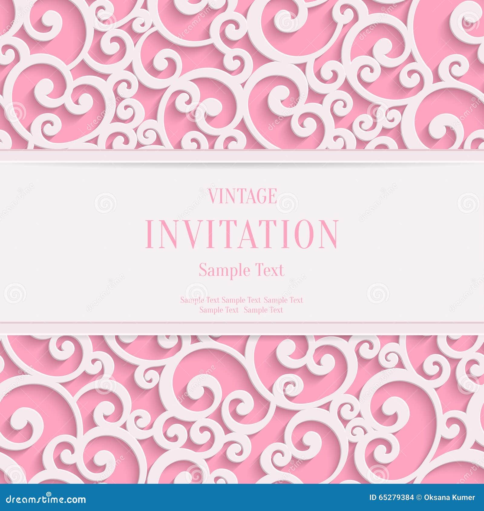 Pink Wedding Cards Background Vector Pink 3d Vintage...
