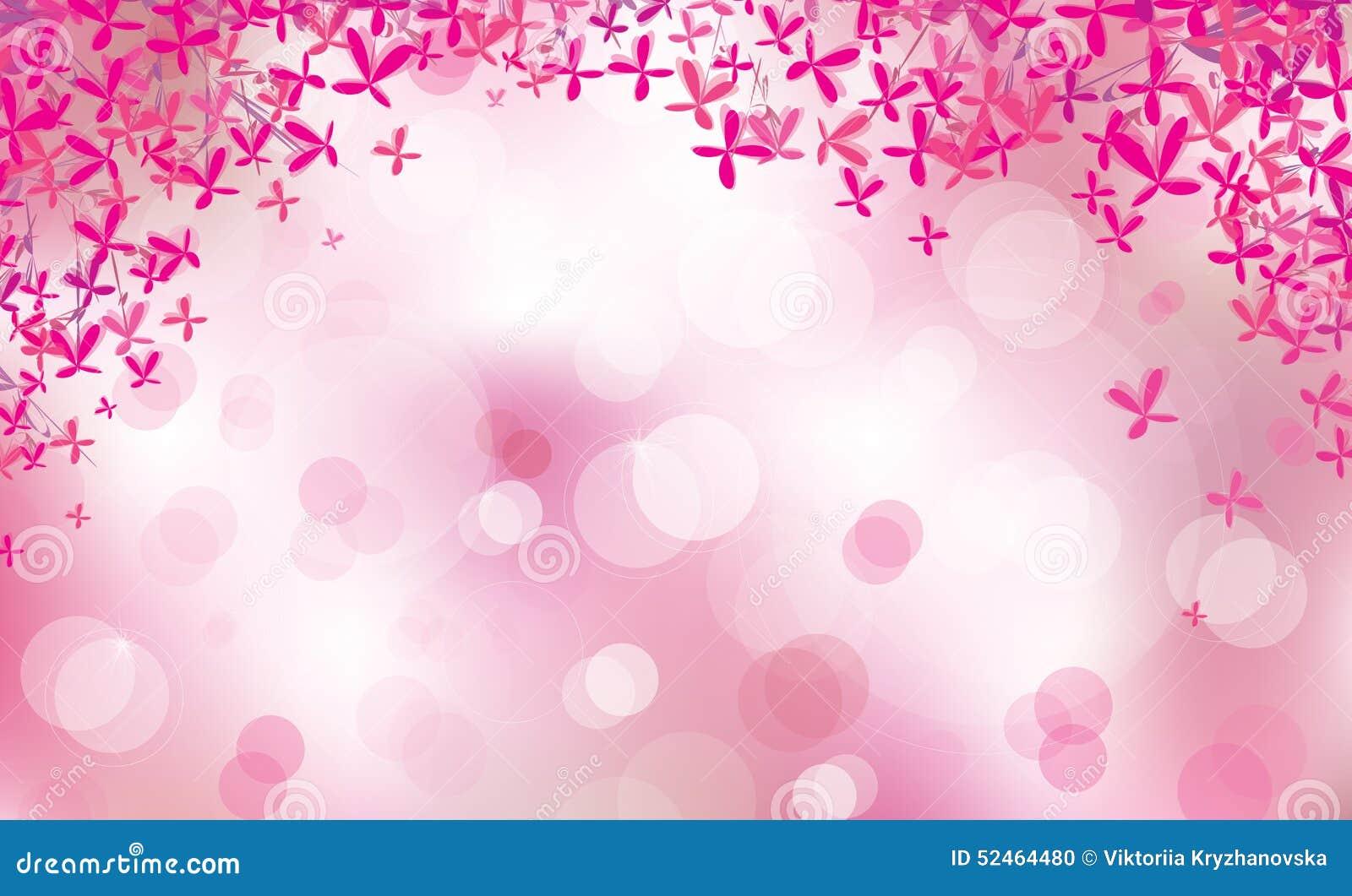 Pink floral shapes border on bokeh pink background for Valentine day ...