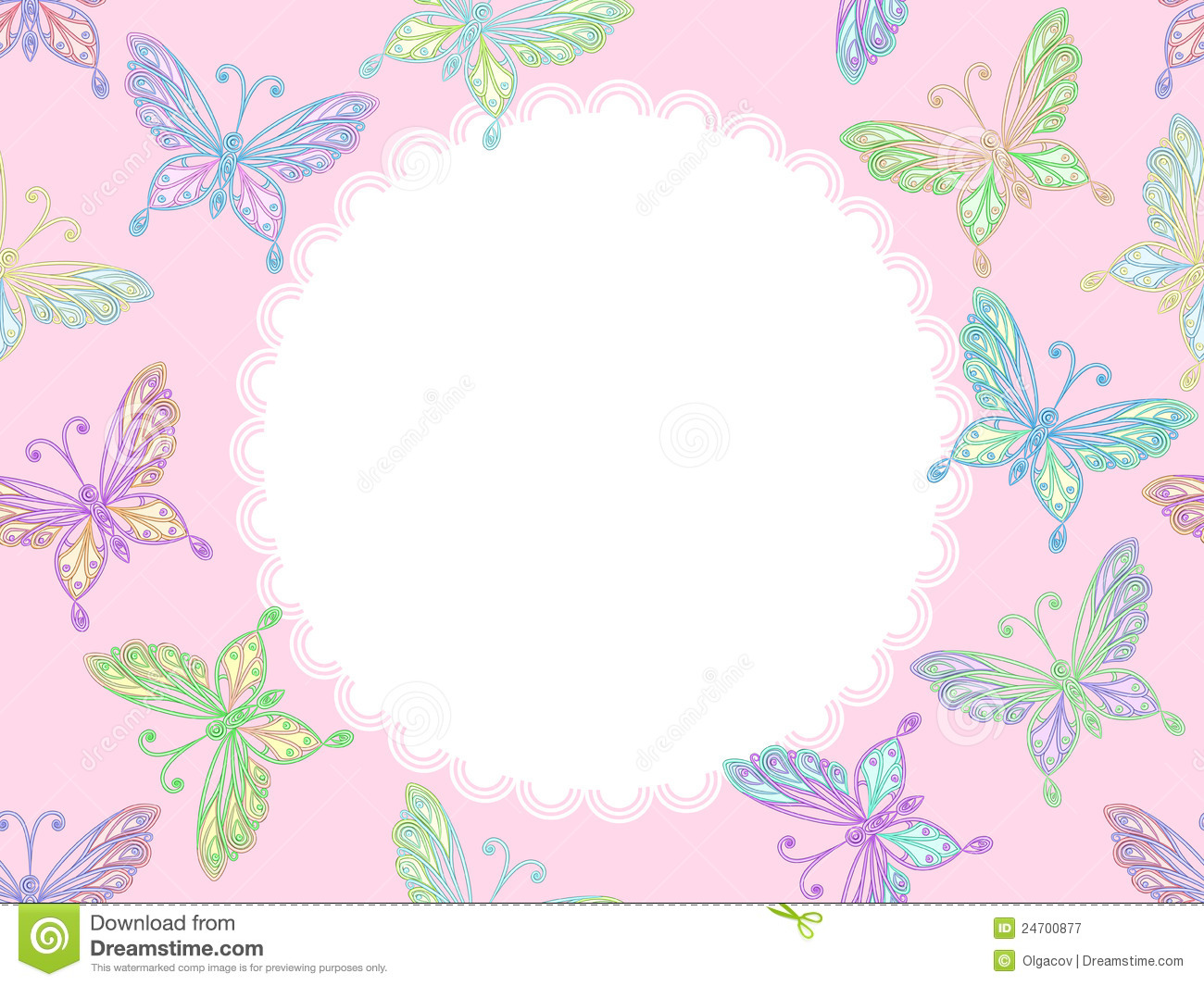 ... floral seamless pink lacy pattern with colorful butterflies and frame
