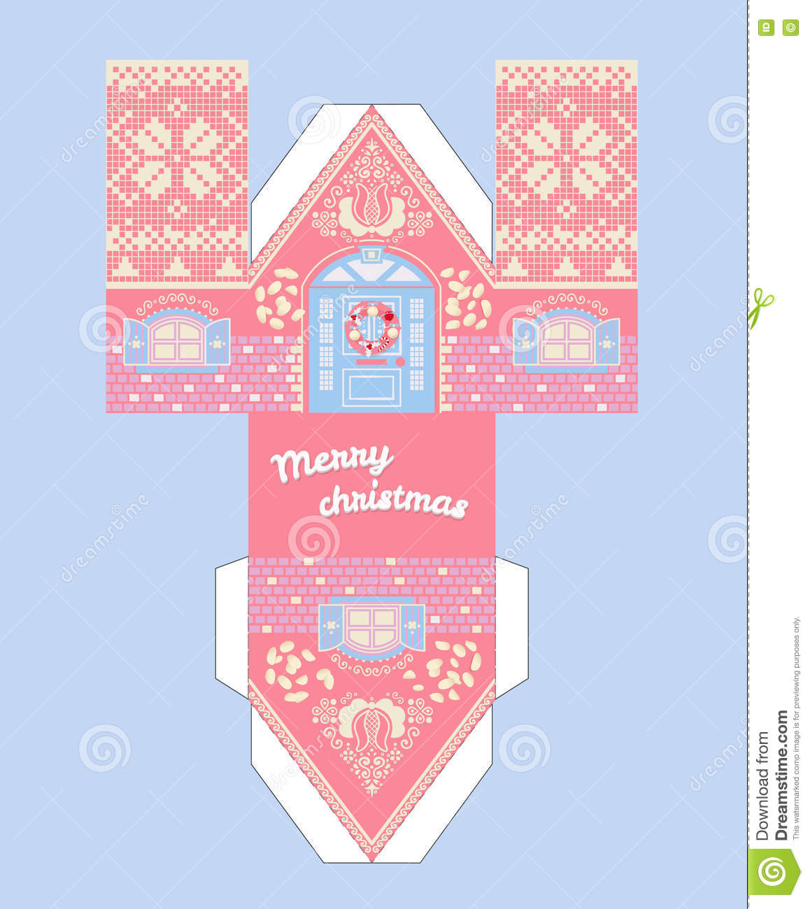 vector pink gingerbread house template cute printable gift with christmas glaze elements