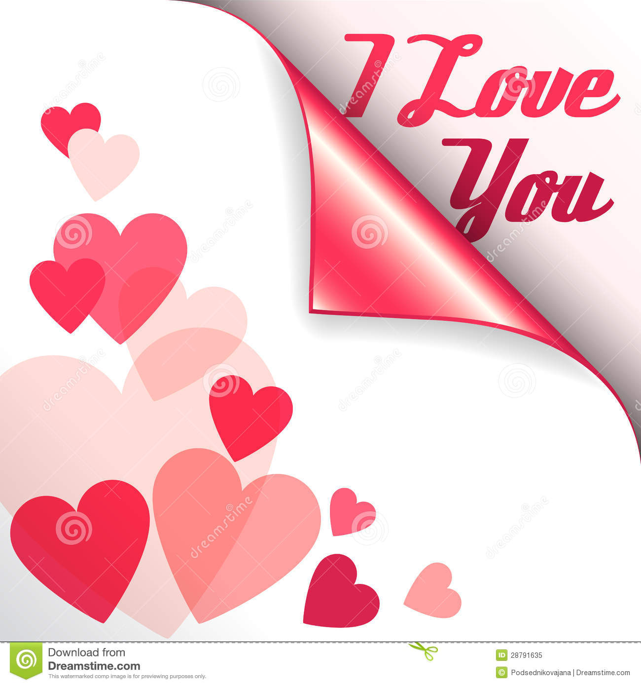 Vector pink heart with curled corner and text I Love You