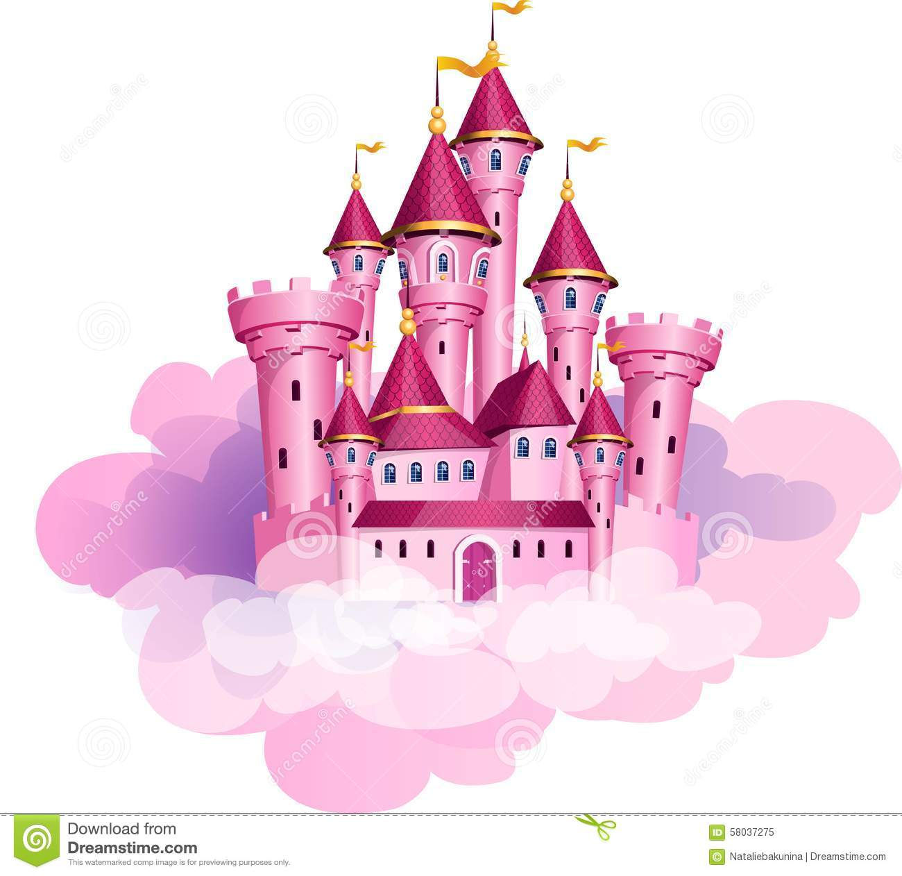 Stock vector of cartoon illustration castle isolated on white - Vector Pink Princess Magic Castle Stock Illustration