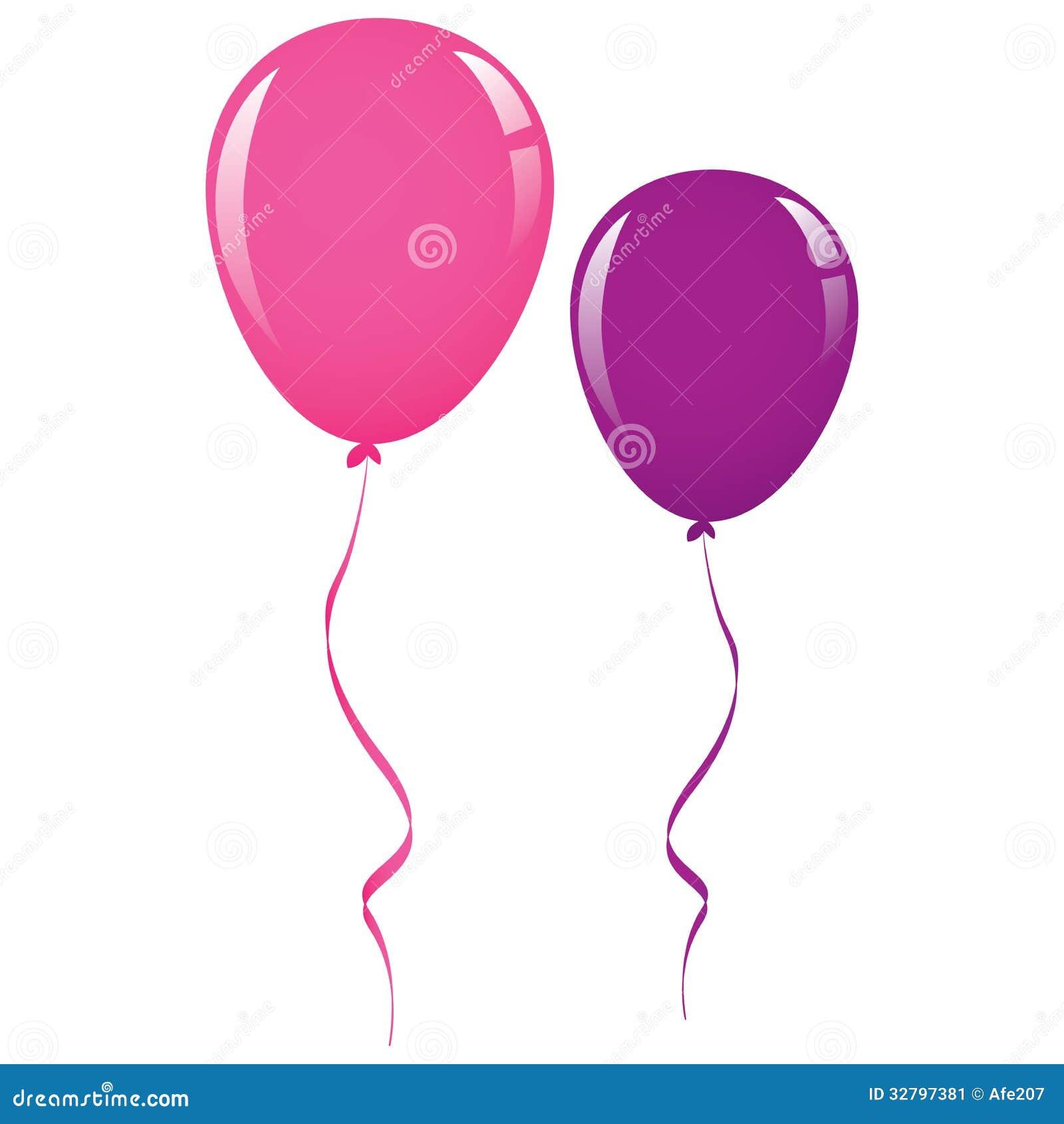 Vector Pink And Purple Balloon Ribbon Stock Vector