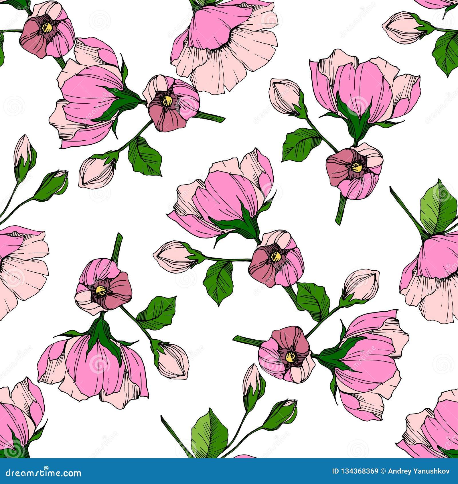 Voysey Poppy Flowers Art Nouveau Blue Background Counted Cross Stitch Pattern