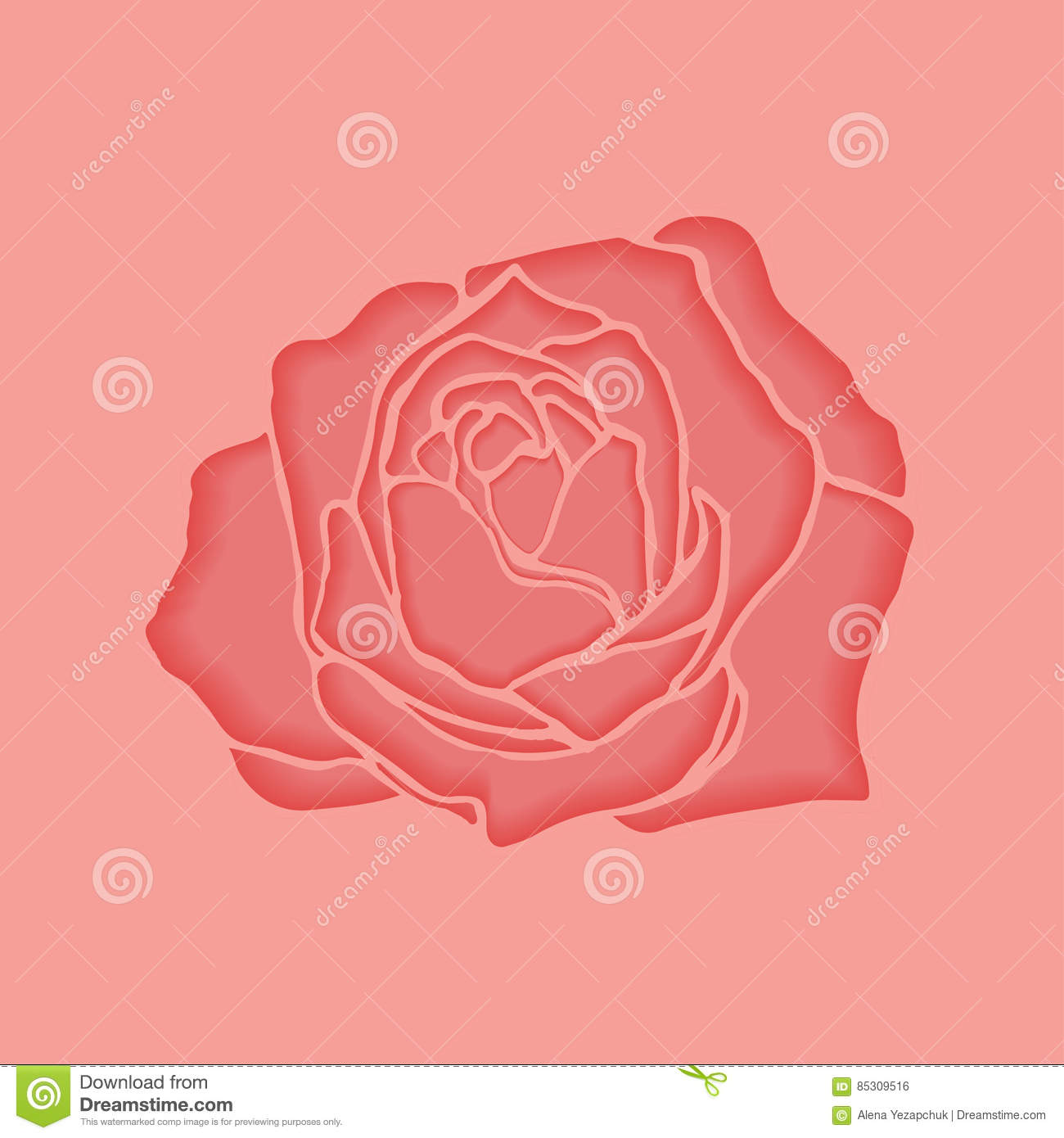 Vector pink rose stock vector. Illustration of background - 85309516