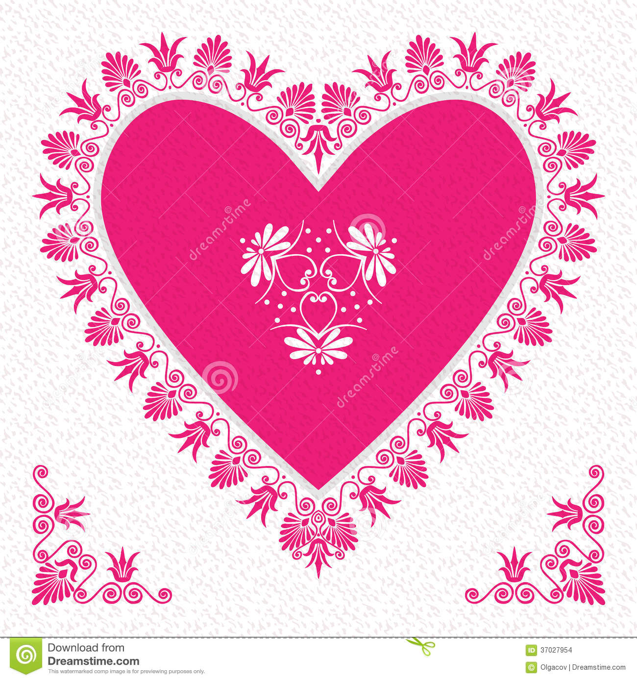Vector Pink Valentines Day Card With Flower Hearts Images – Flower Valentine Card