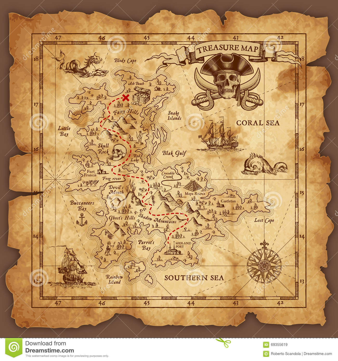 Vector Pirate Treasure Map