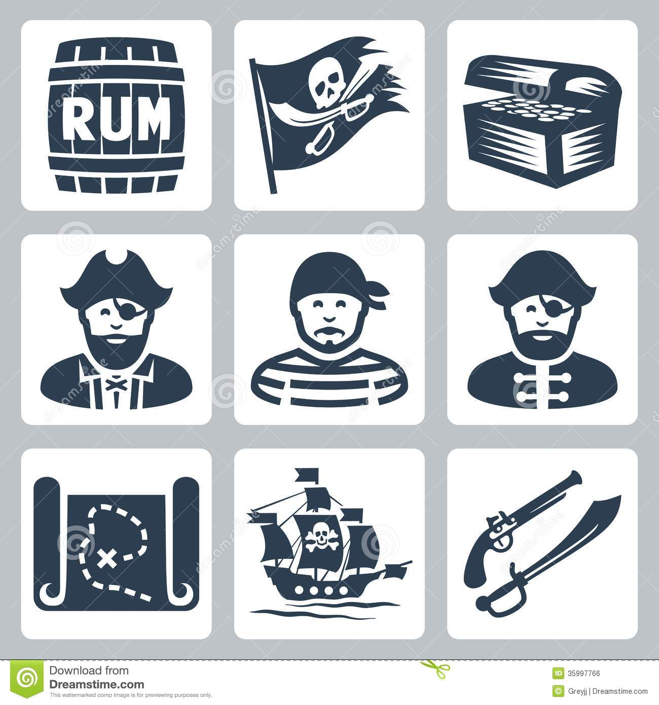 Royalty Free Stock Image Vector Pirates Piracy Icons Set Image35997766