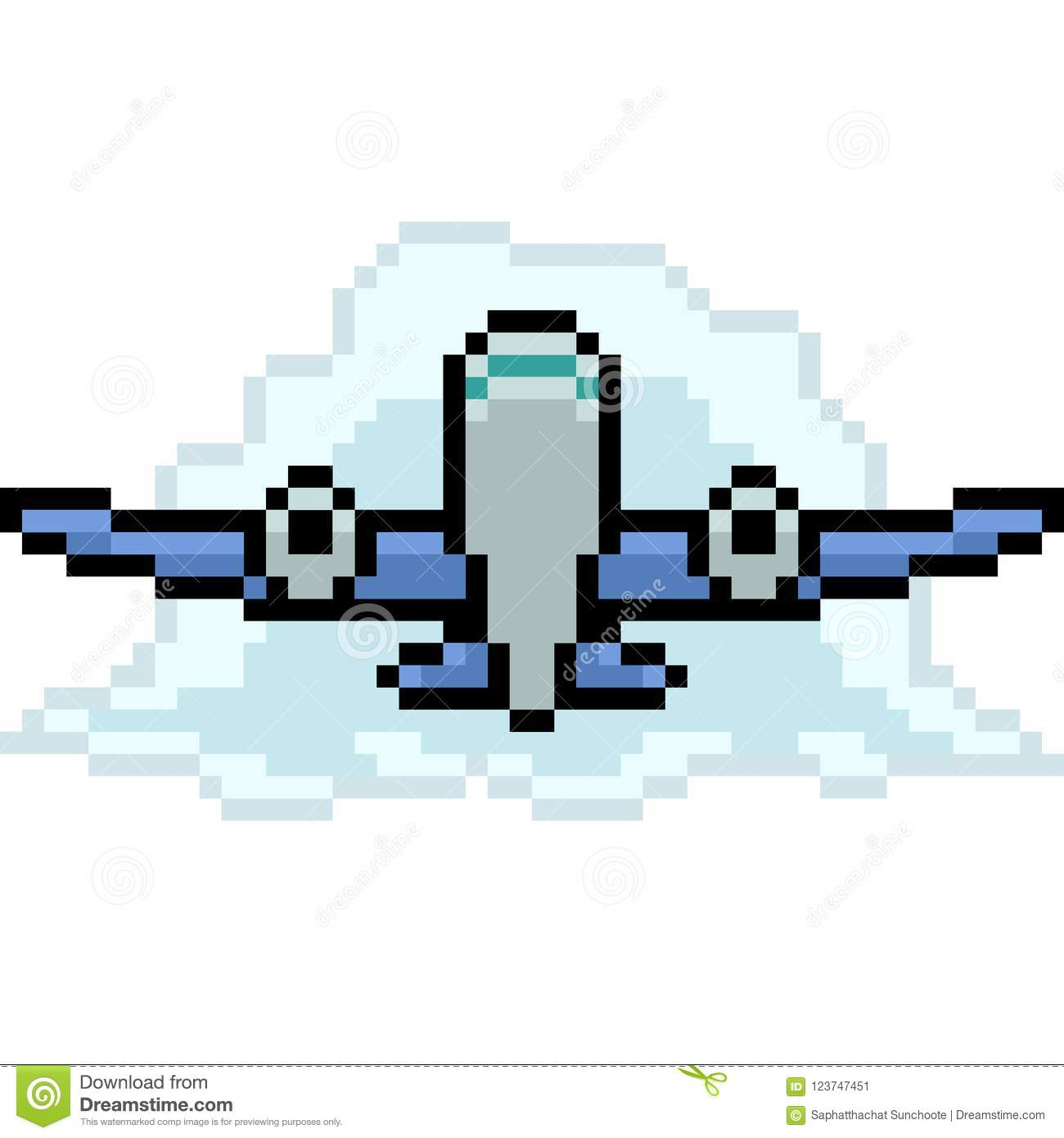 Vector Pixel Art Airplane Stock Vector Illustration Of