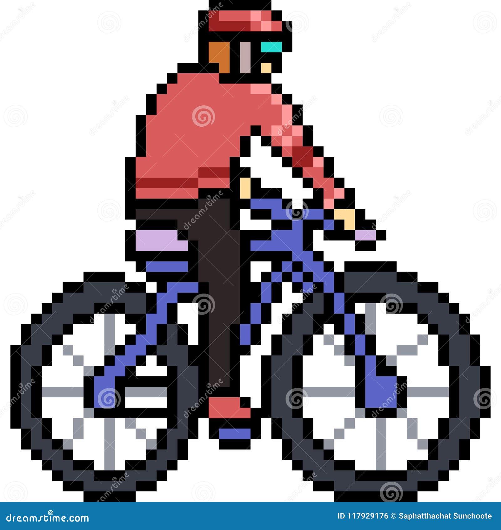Vector Pixel Art Bicycle Ride Stock Vector Illustration Of Pixel Cartoon 117929176