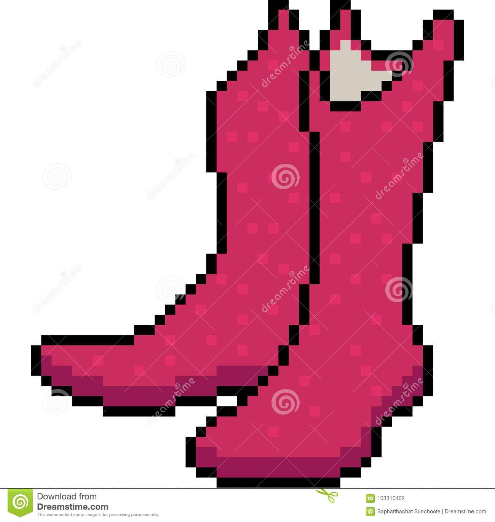Vector Pixel Art Boots Fashion Stock Vector , Illustration