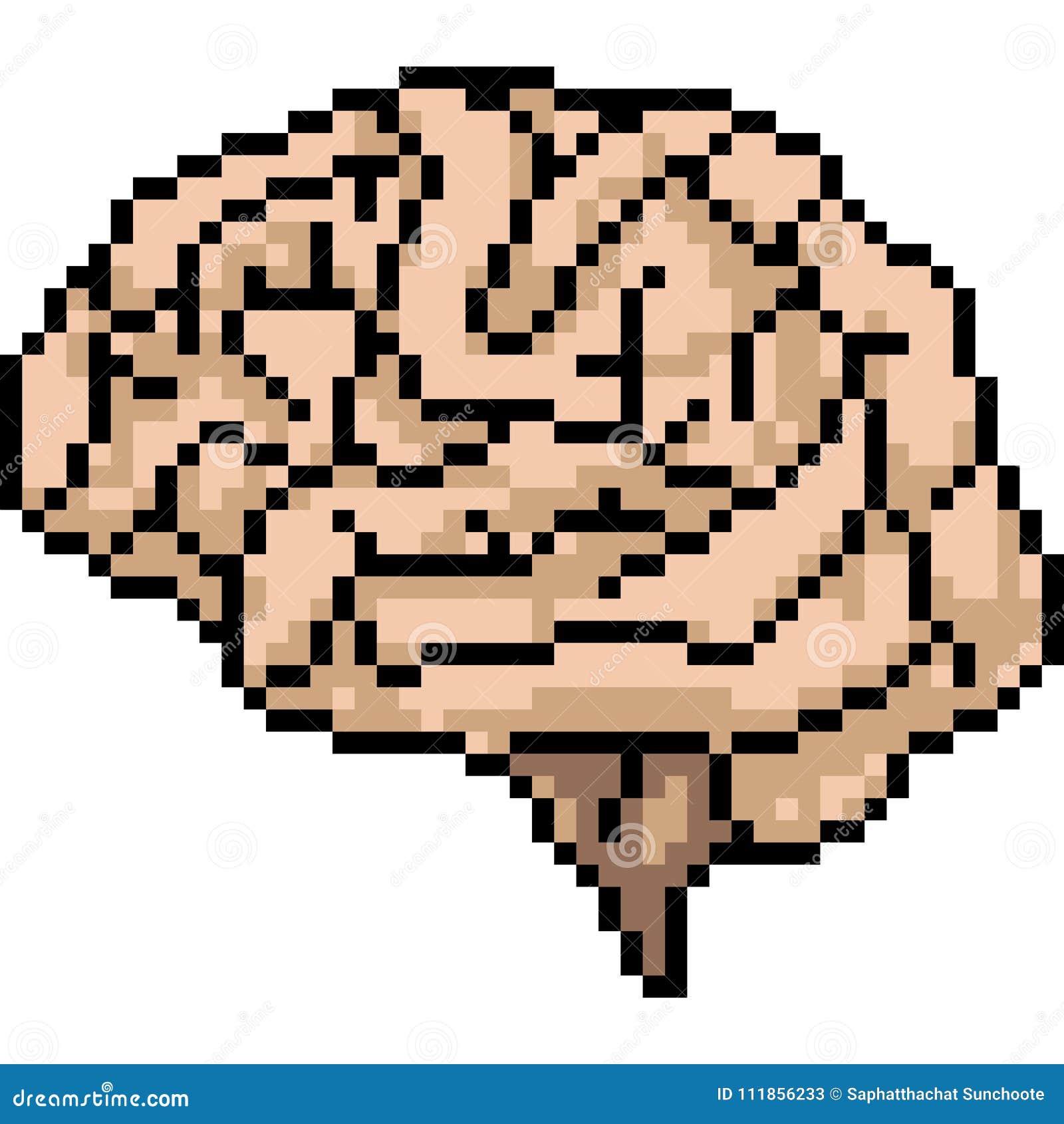 Superior Download Vector Pixel Art Brain Stock Vector. Illustration Of Brain    111856233