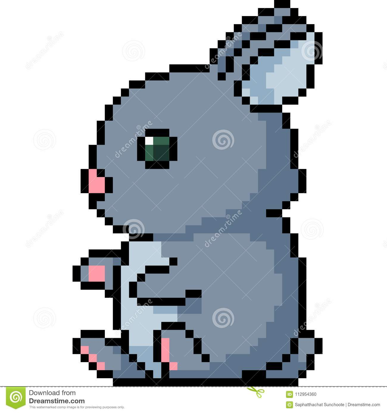 Vector Pixel Art Bunny Stock Vector Illustration Of Vector