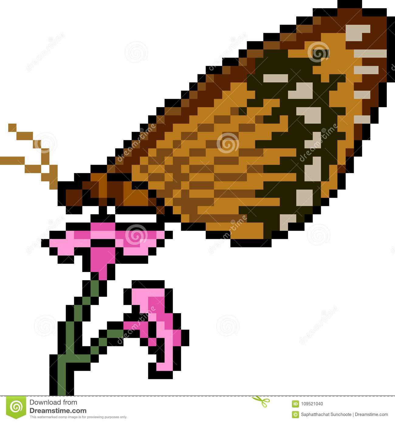 Vector Pixel Art Butterfly Stock Vector Illustration Of