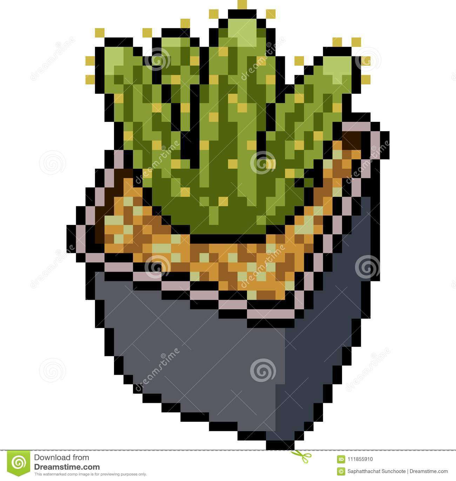Vector Pixel Art Cactus Pot Stock Vector Illustration Of