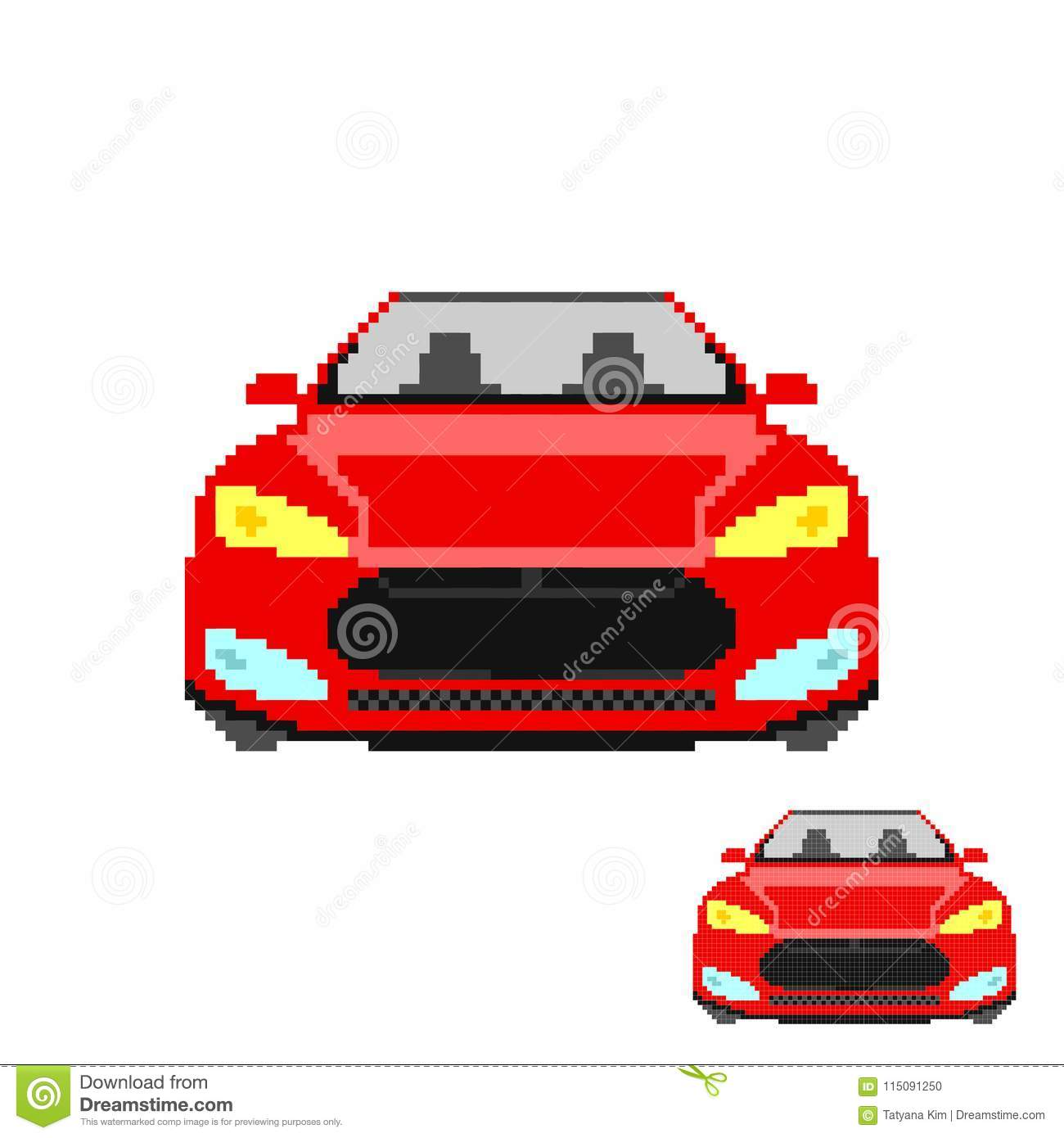 Vector Pixel Art Car Front Isolated Stock Vector Illustration Of