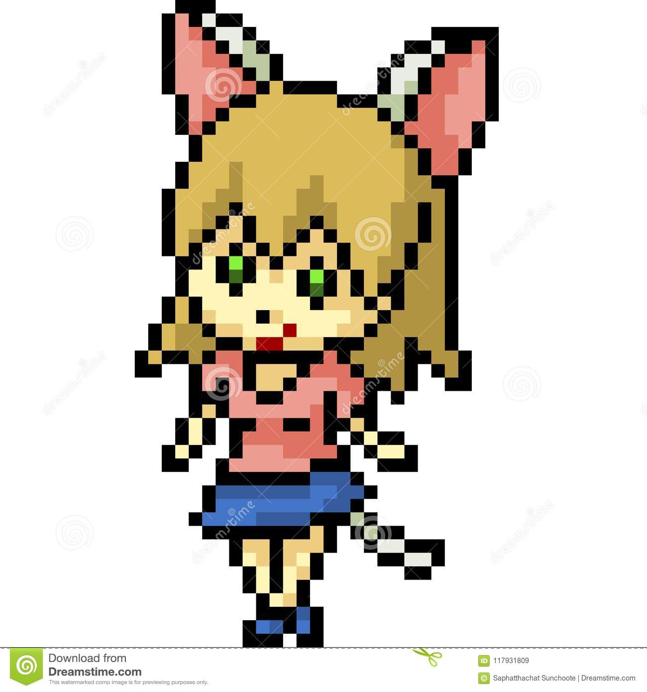 Vector Pixel Art Cat Girl Stock Vector Illustration Of