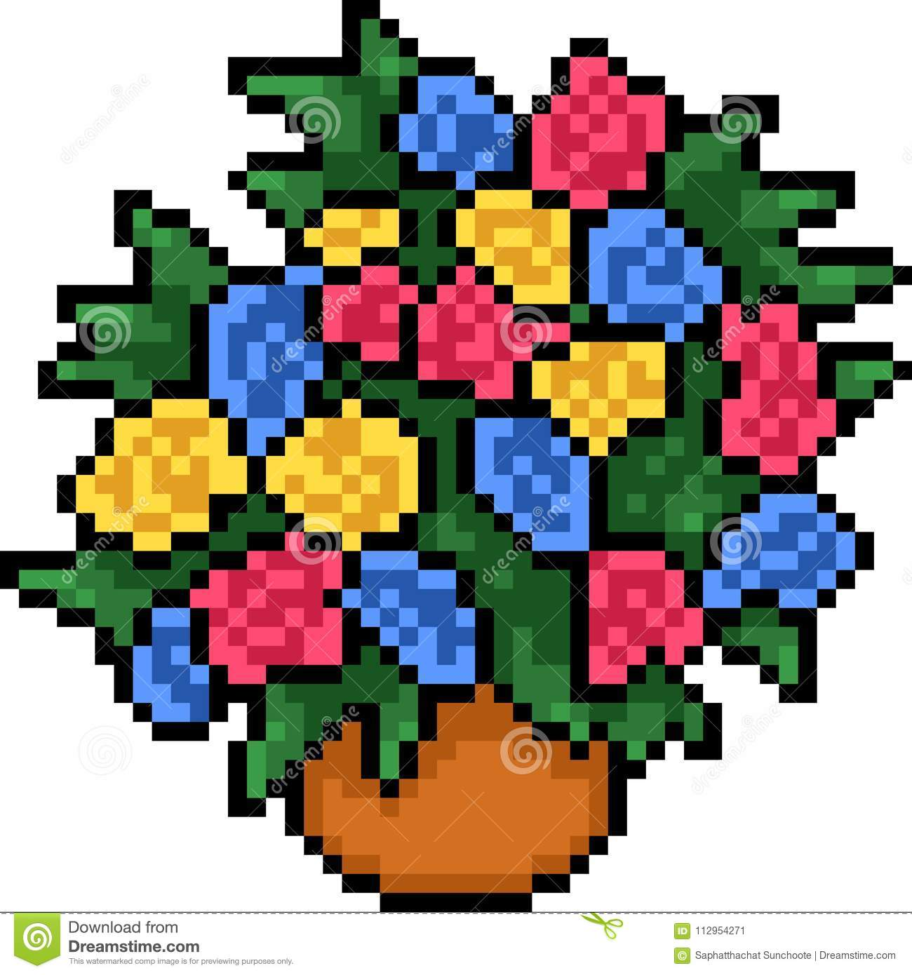 Vector Pixel Art Colorful Flower Pot Stock Vector Illustration