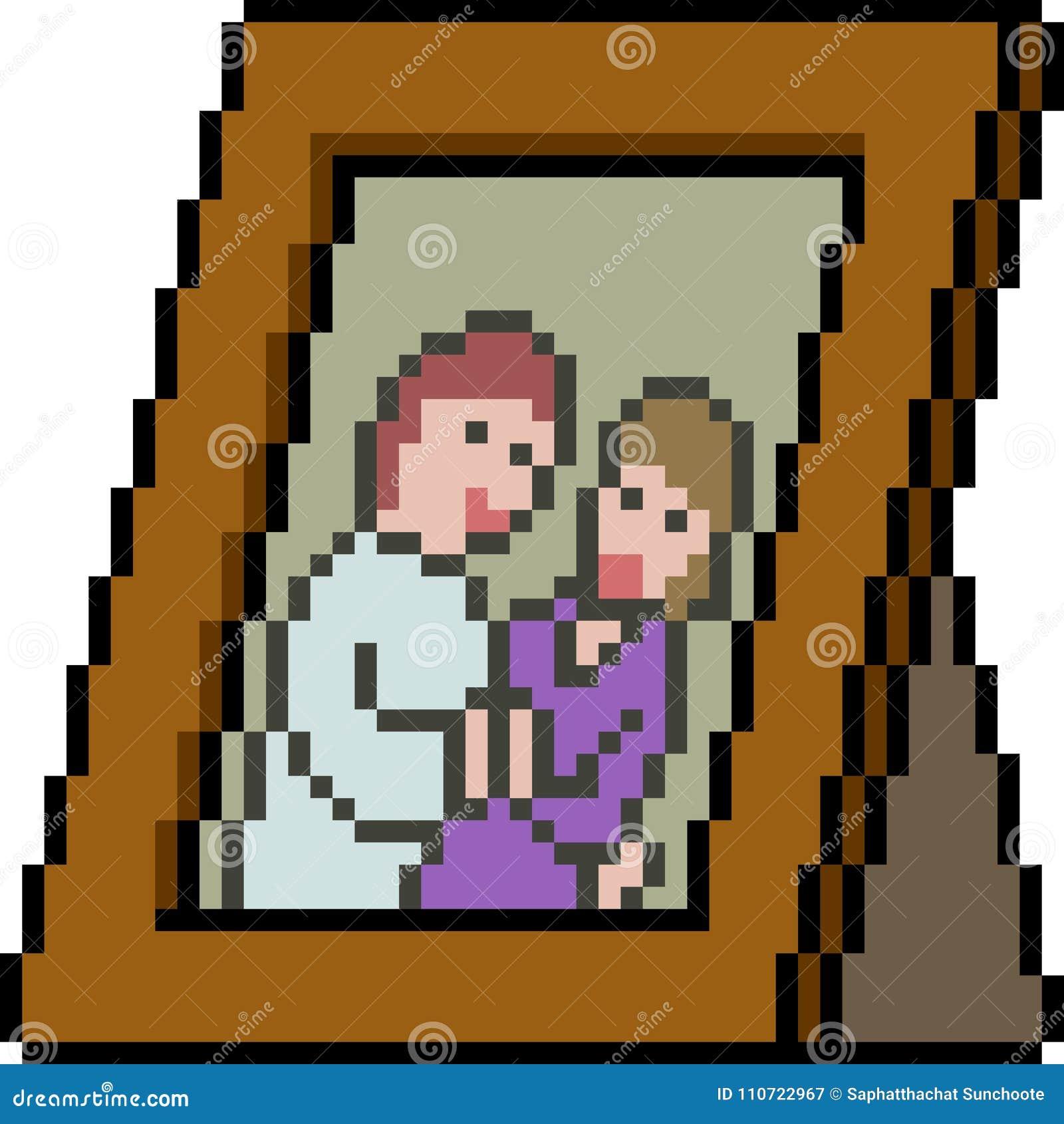 Vector Pixel Art Couple Picture Frame Stock Vector