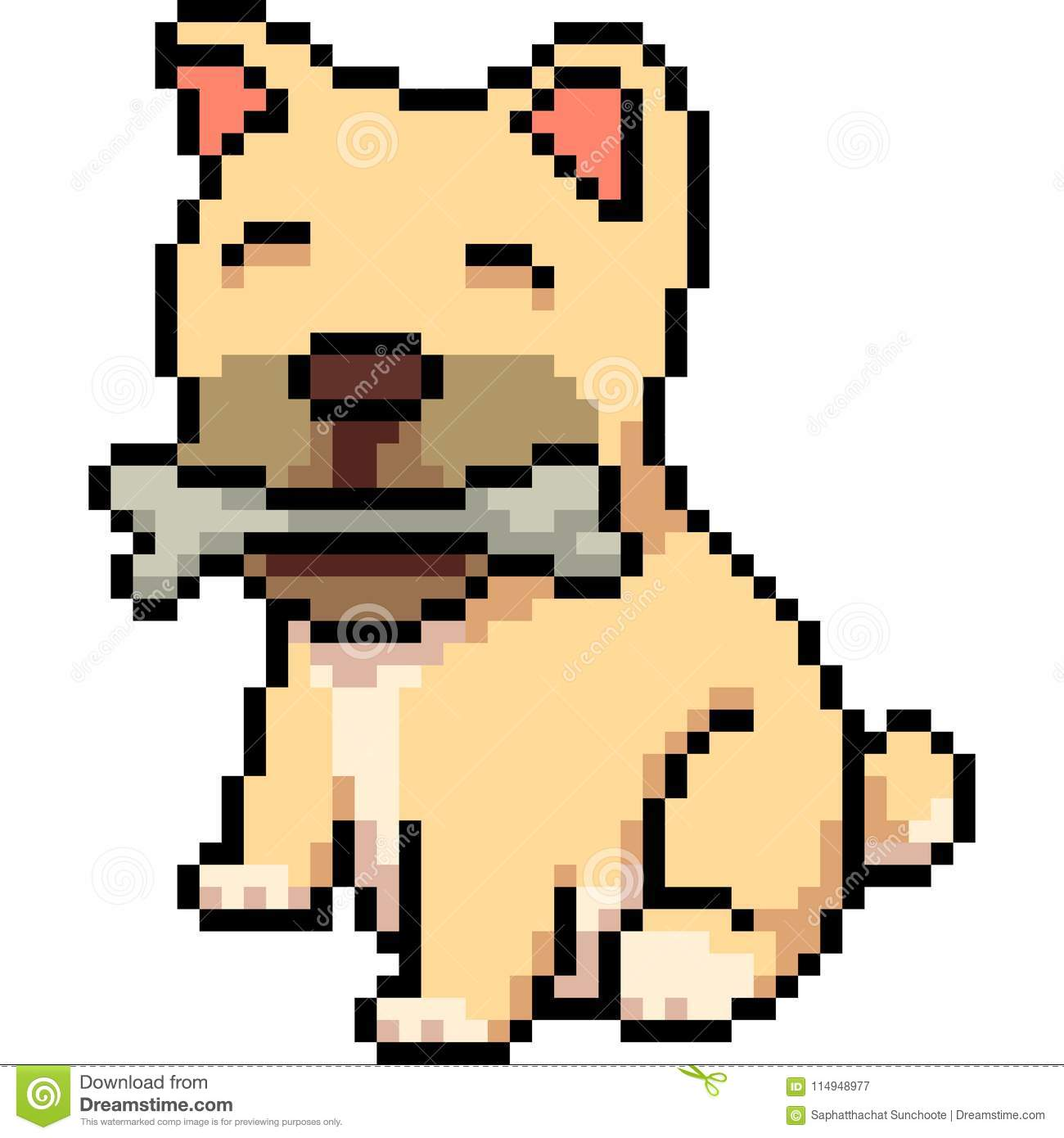 Vector Pixel Art Dog Stock Vector Illustration Of Food