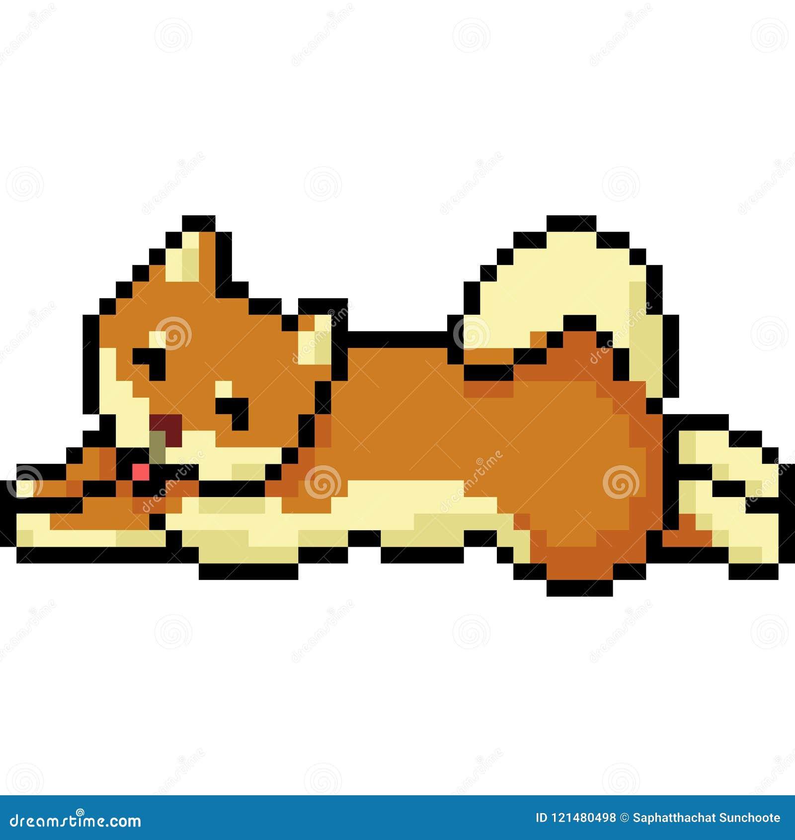 Vector Pixel Art Dog Shiba Stock Vector Illustration Of