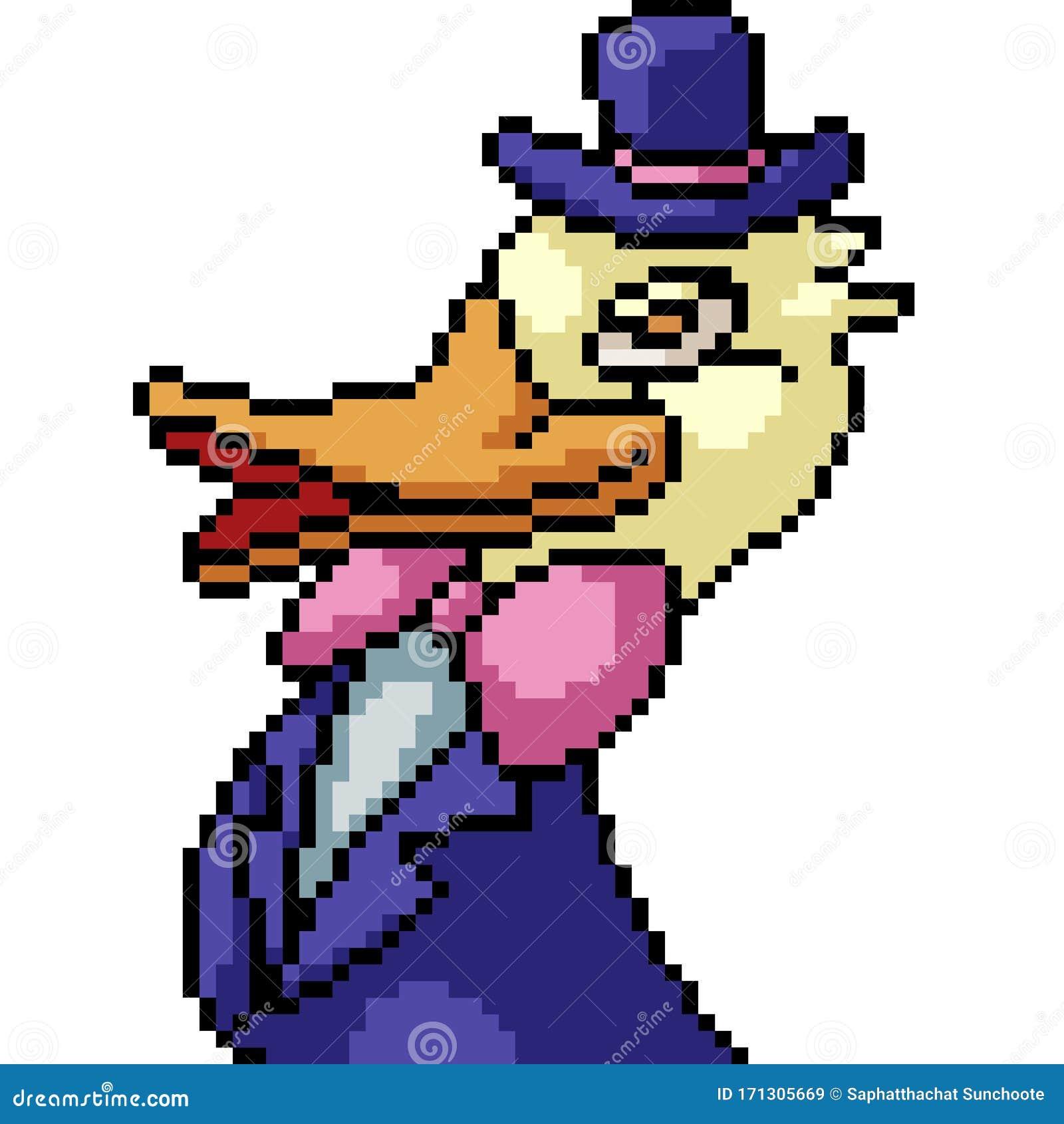 Vector Pixel Art Duck Stock Vector. Illustration Of Head