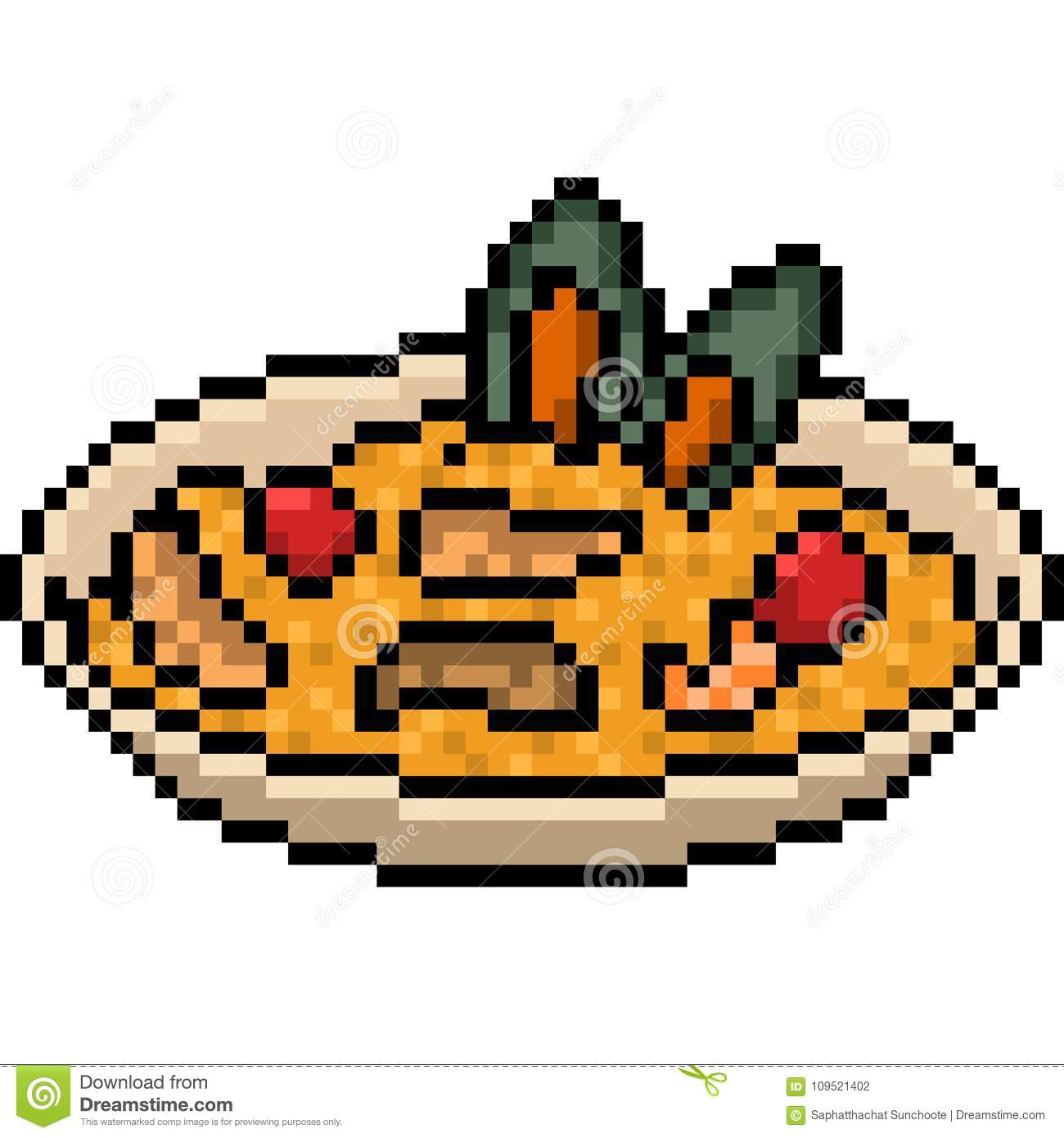 Vector Pixel Art Food Fried Rice Stock Vector Illustration Of Tomato Shell 109521402