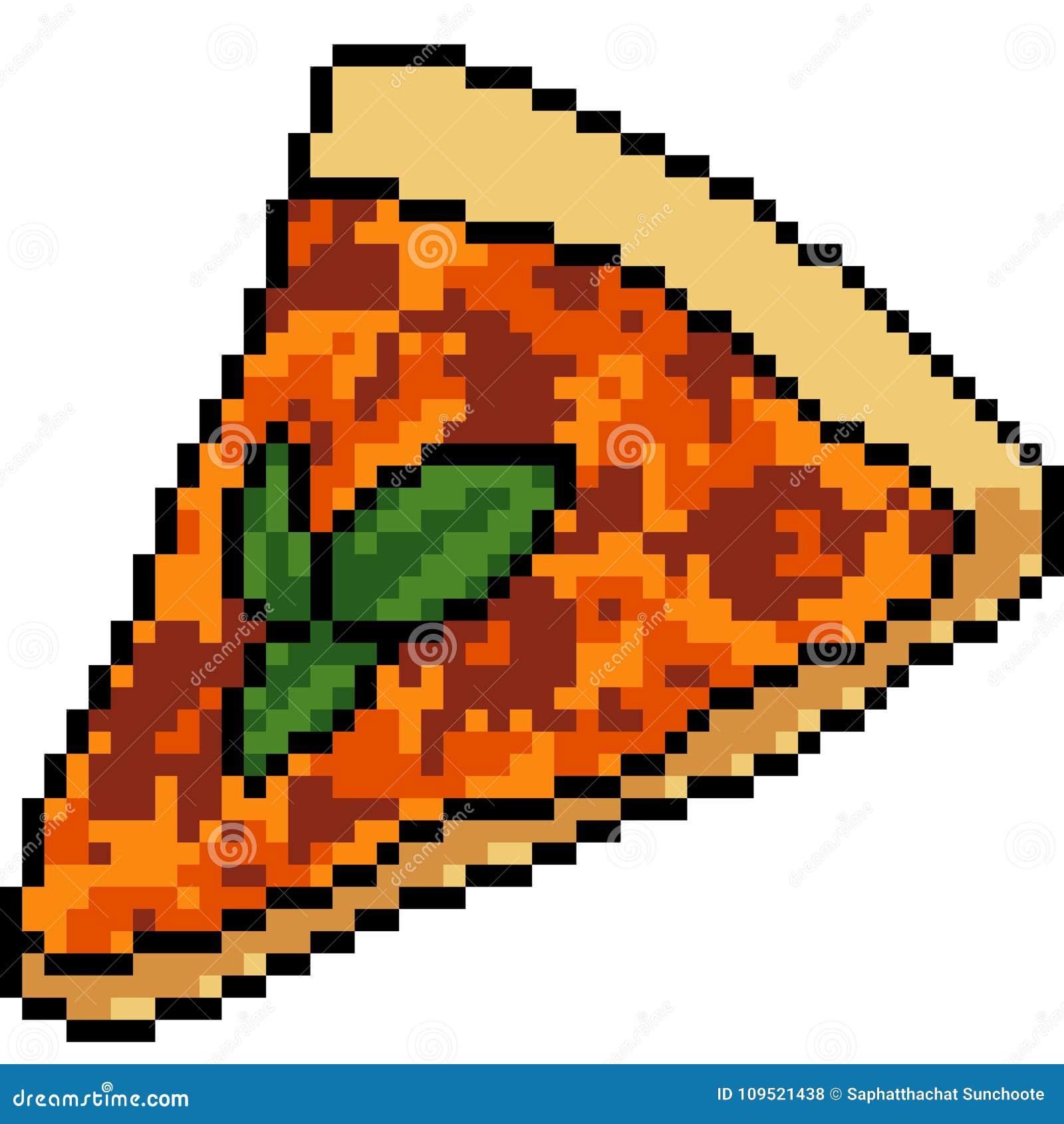 Vector Pixel Art Food Pizza Stock Vector Illustration Of