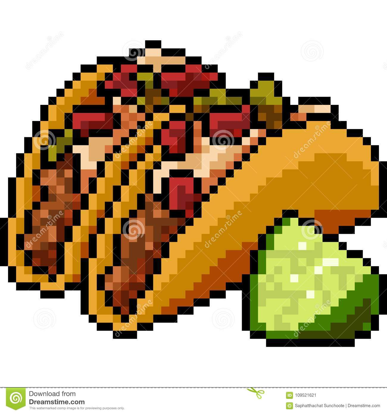 Vector Pixel Art Food Taco Stock Vector Illustration Of