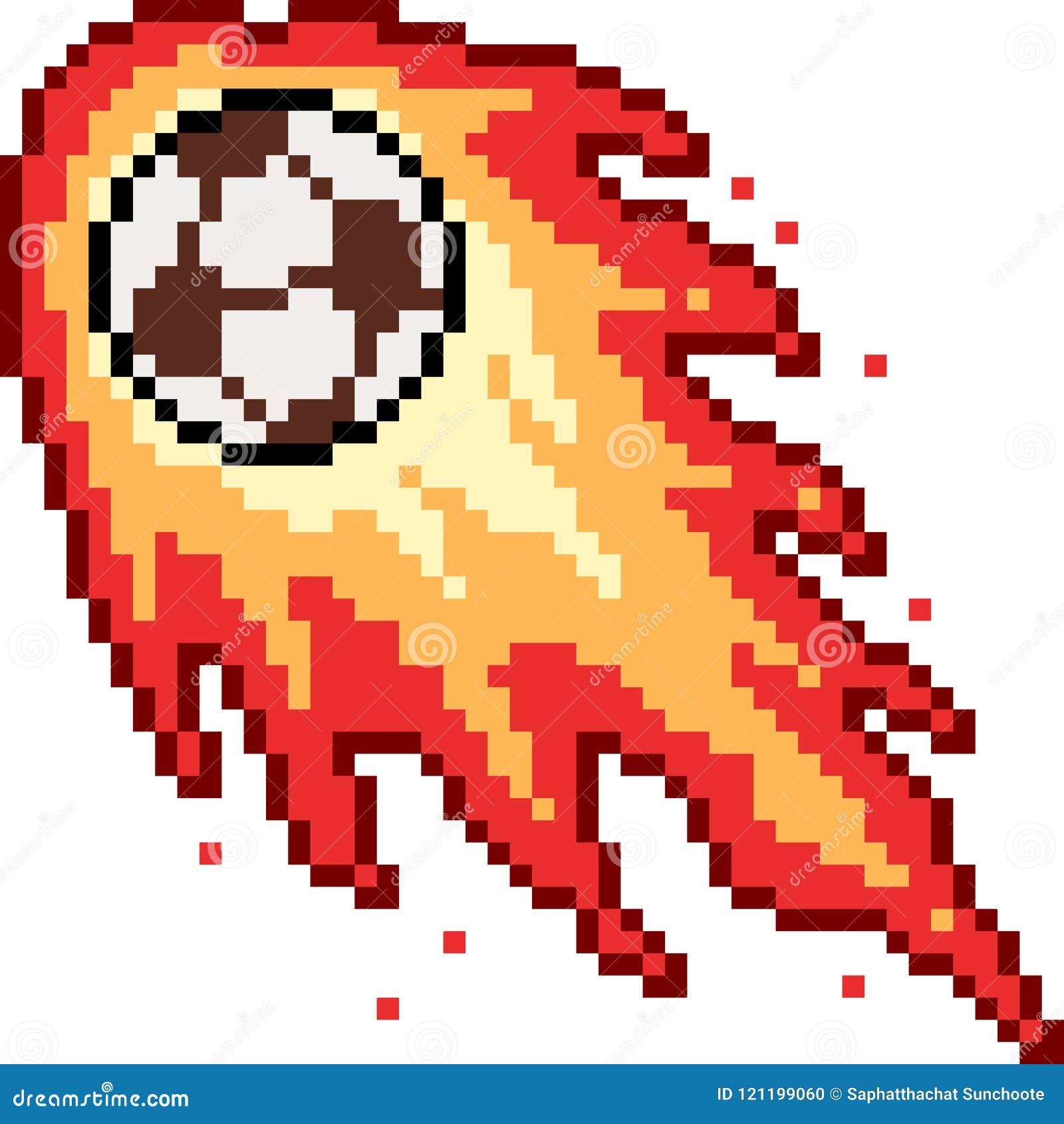 Vector Pixel Art Football Fire Stock Vector Illustration