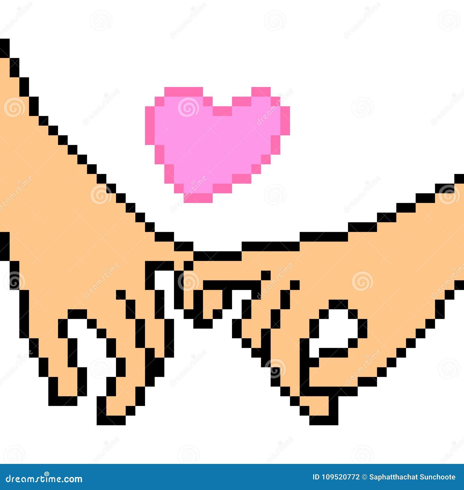 Vector Pixel Art Hand Gesture Love Stock Vector