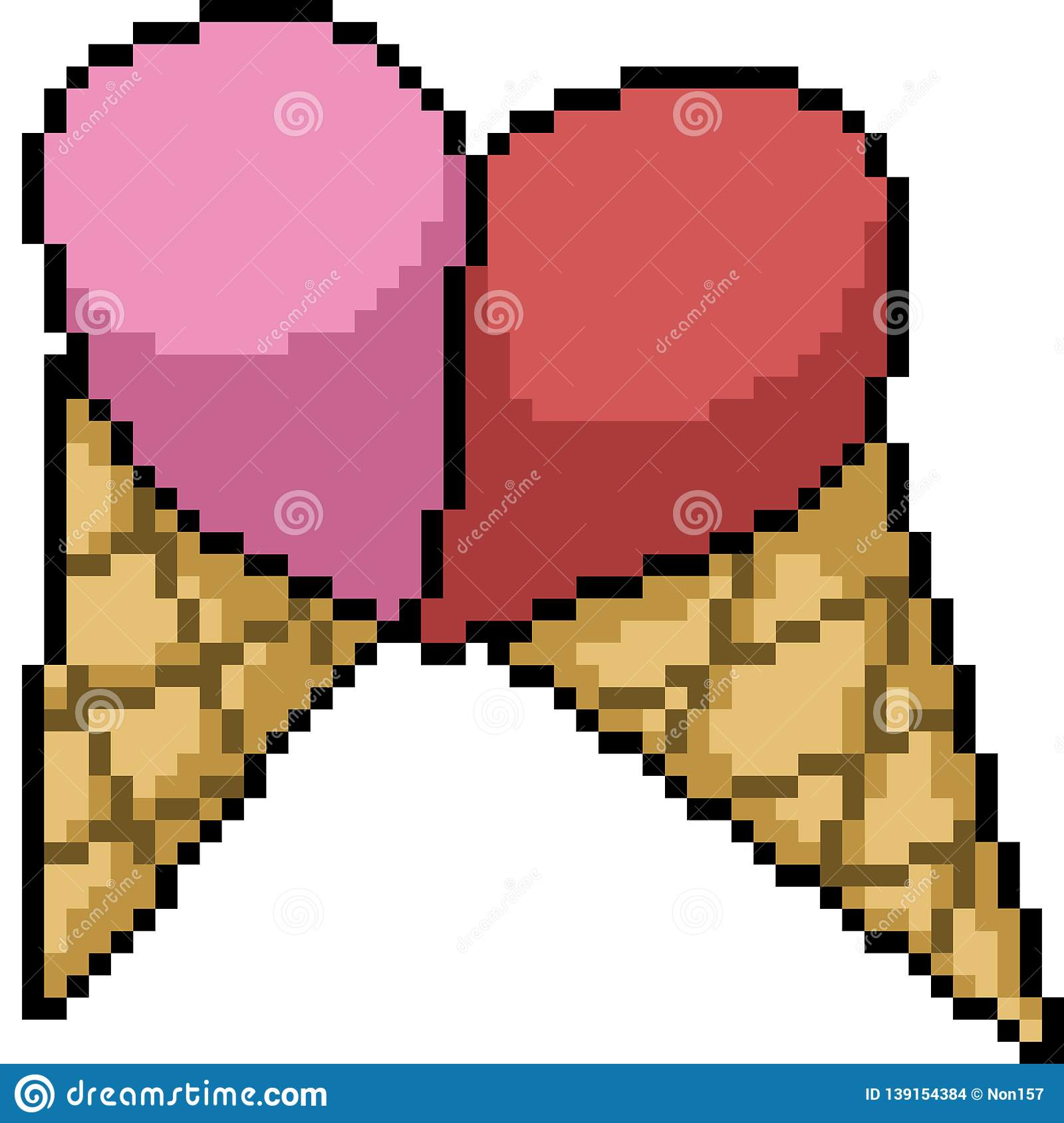 Vector Pixel Art Ice Cream Cone Stock Vector Illustration