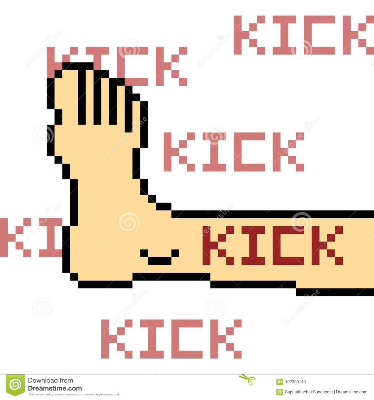 Vector Pixel Art Kick Stock Vector Illustration Of Foot