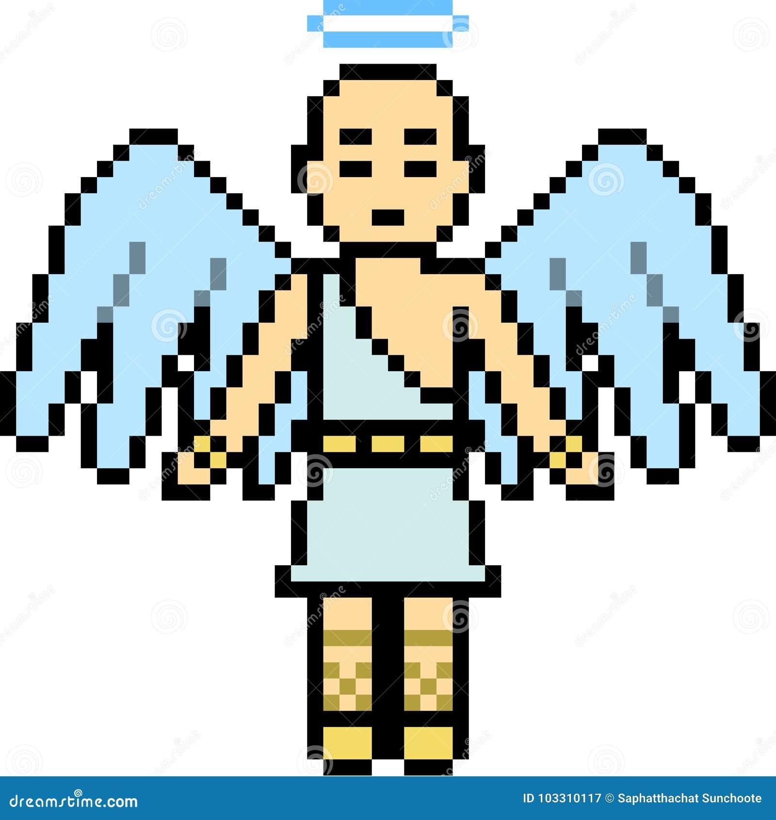 Vector Pixel Art Male Angel Stock Vector Illustration Of