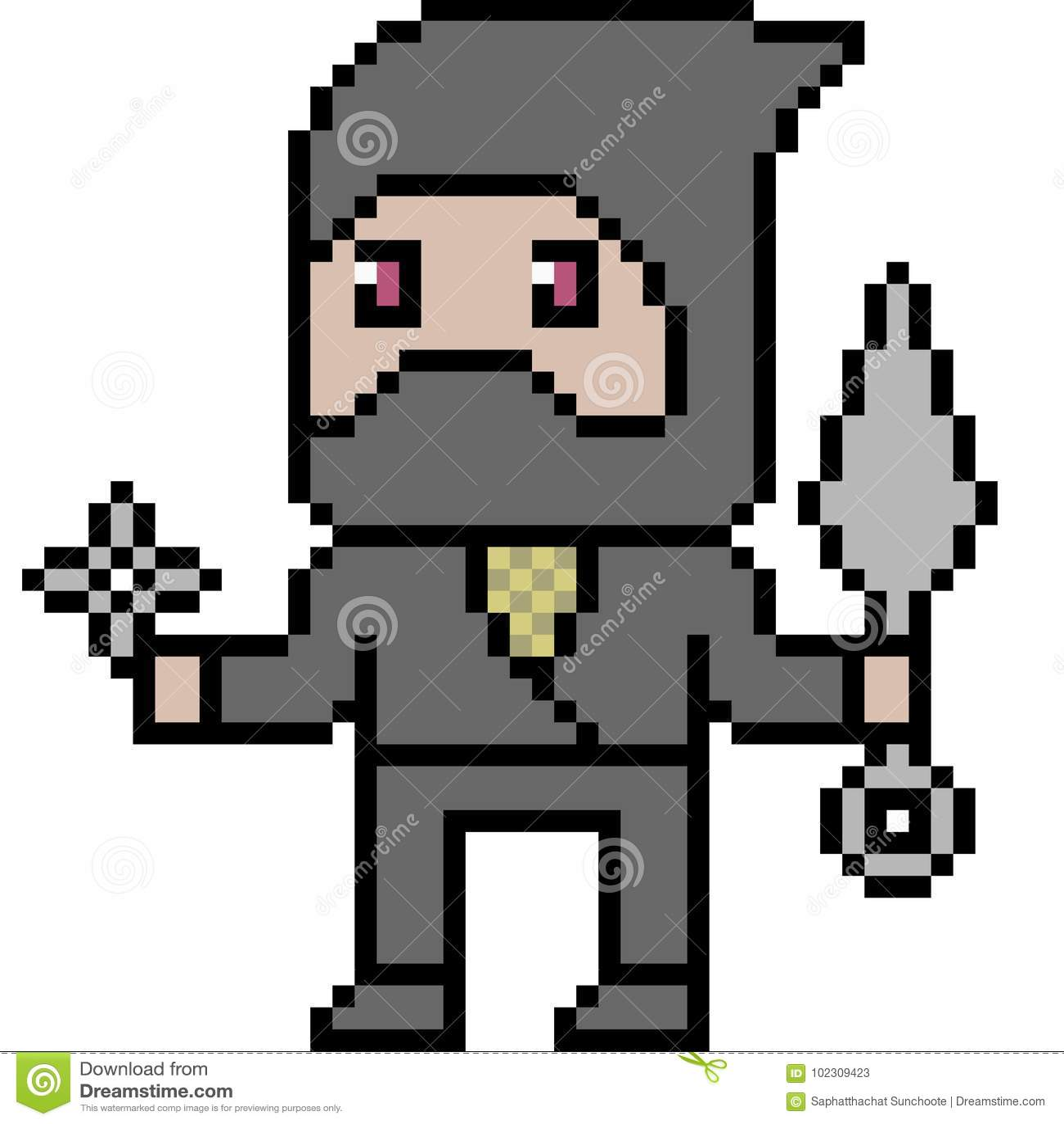 Vector Pixel Art Ninja Stock Vector Illustration Of Knife