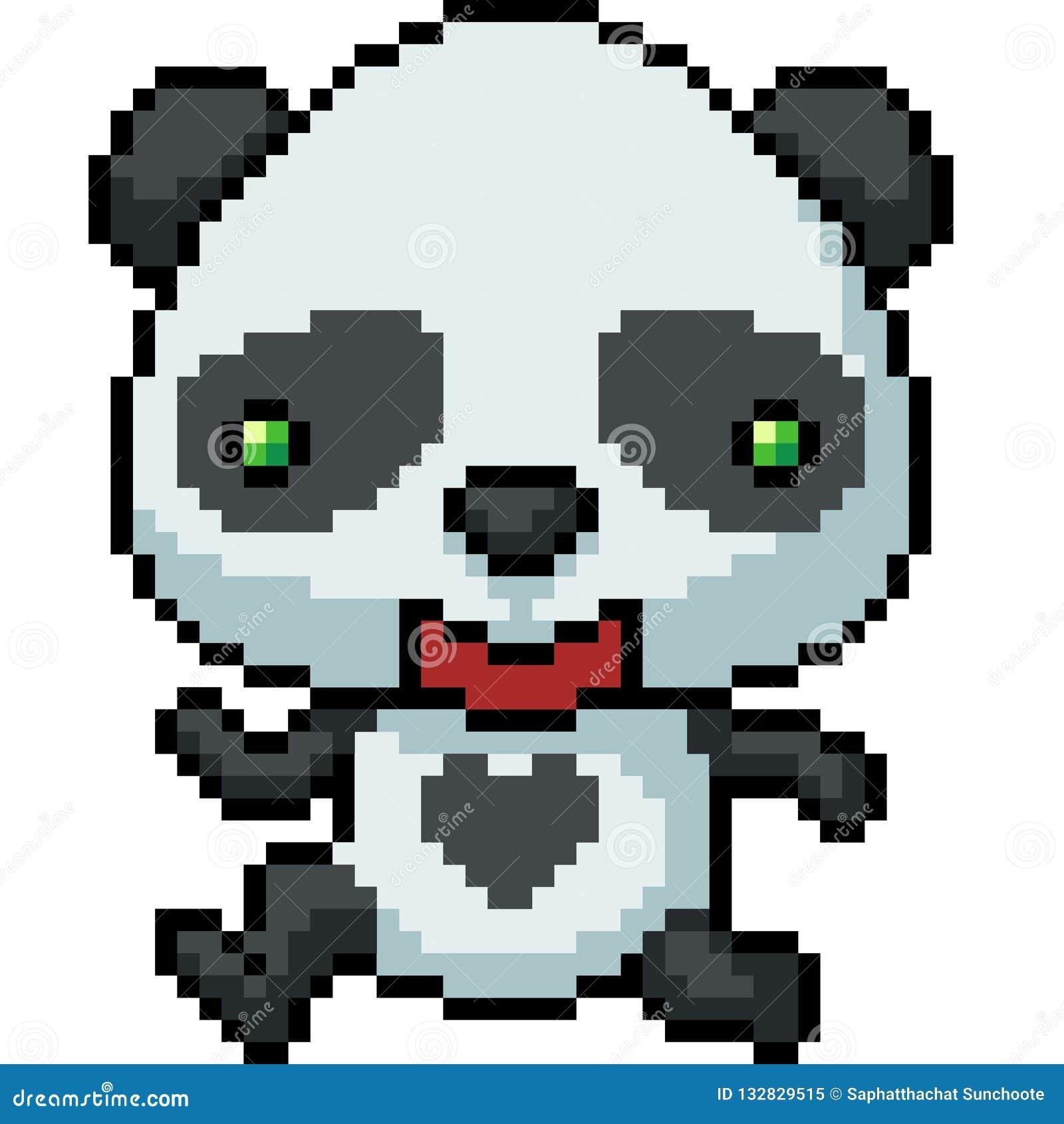 Vector Pixel Art Panda Happy Stock Vector Illustration Of Bear