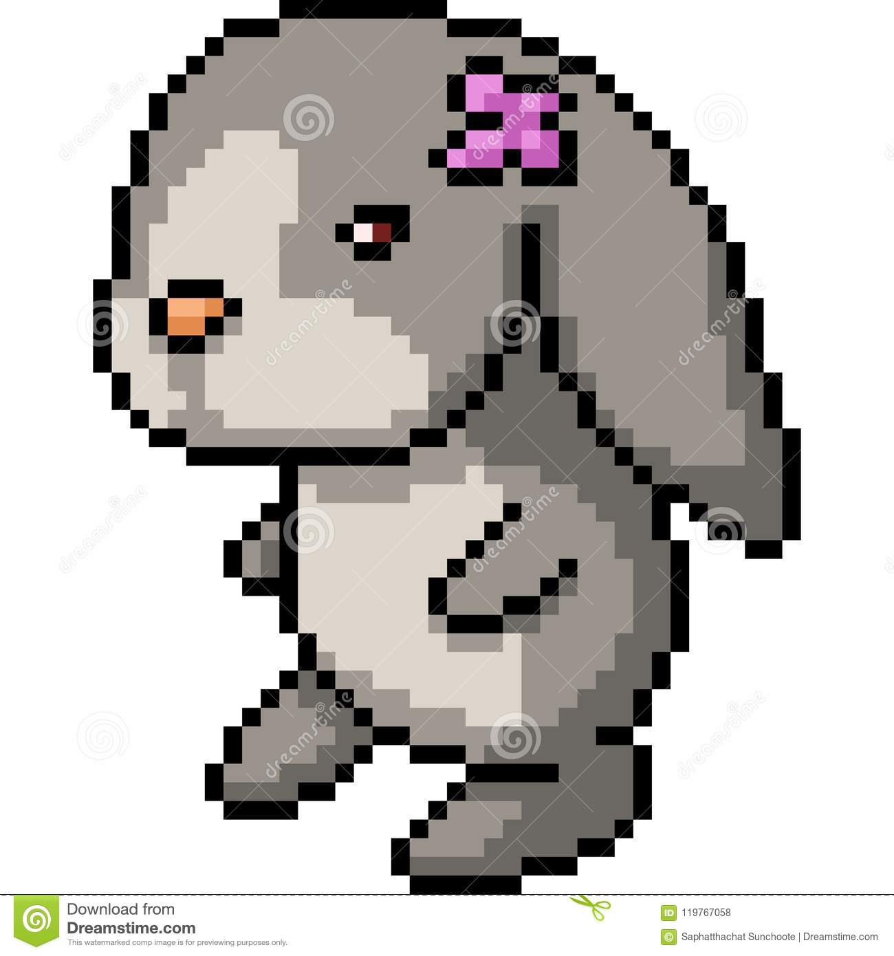 Vector Pixel Art Rabbit Doll Stock Vector Illustration Of