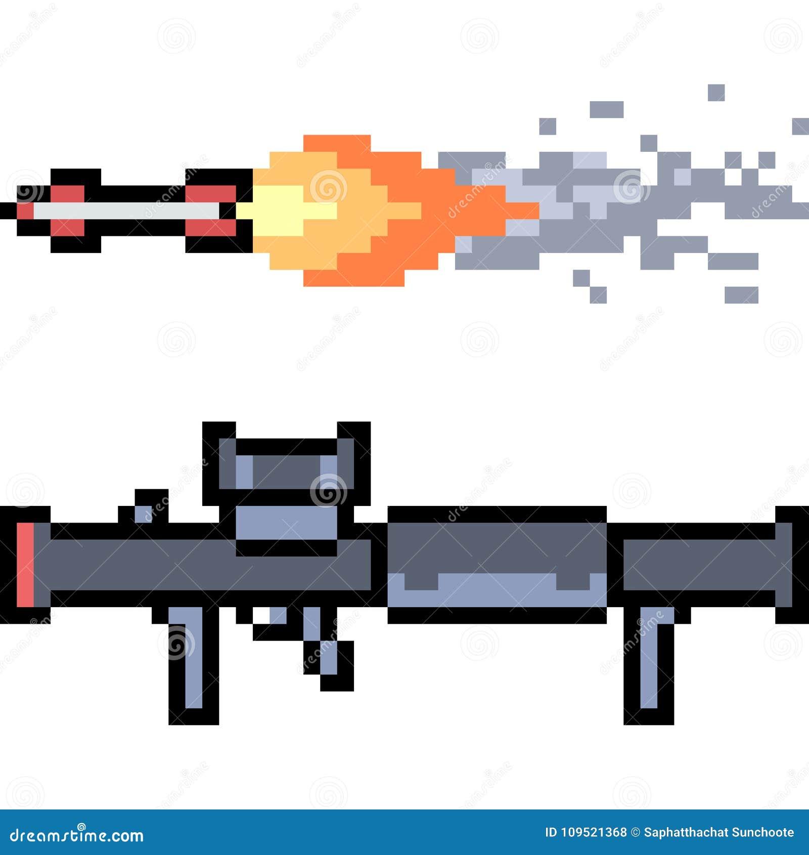Vector Pixel Art Rocket Launcher Stock Vector