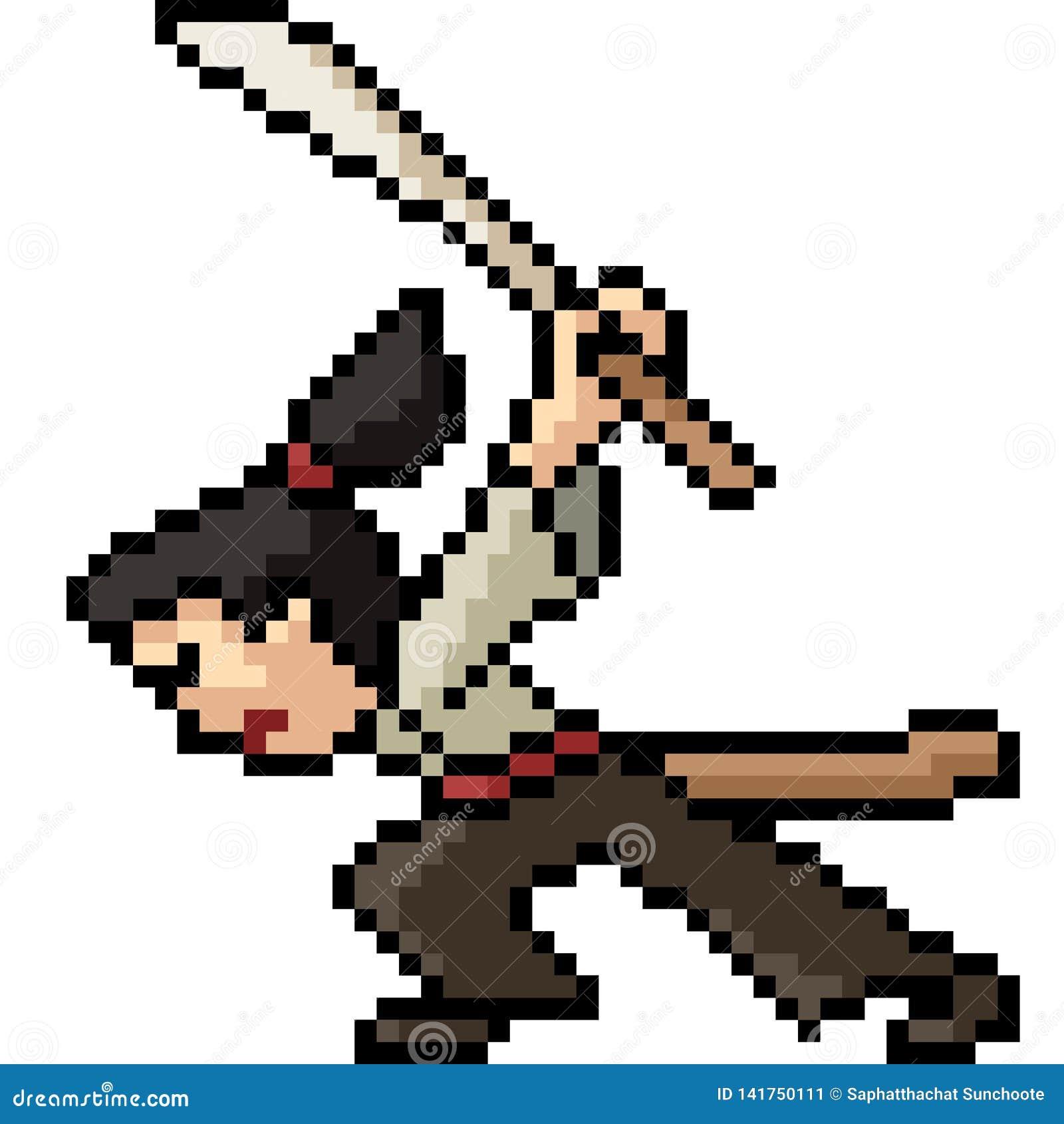 Vector Pixel Art Samurai Stock Vector Illustration Of Sword