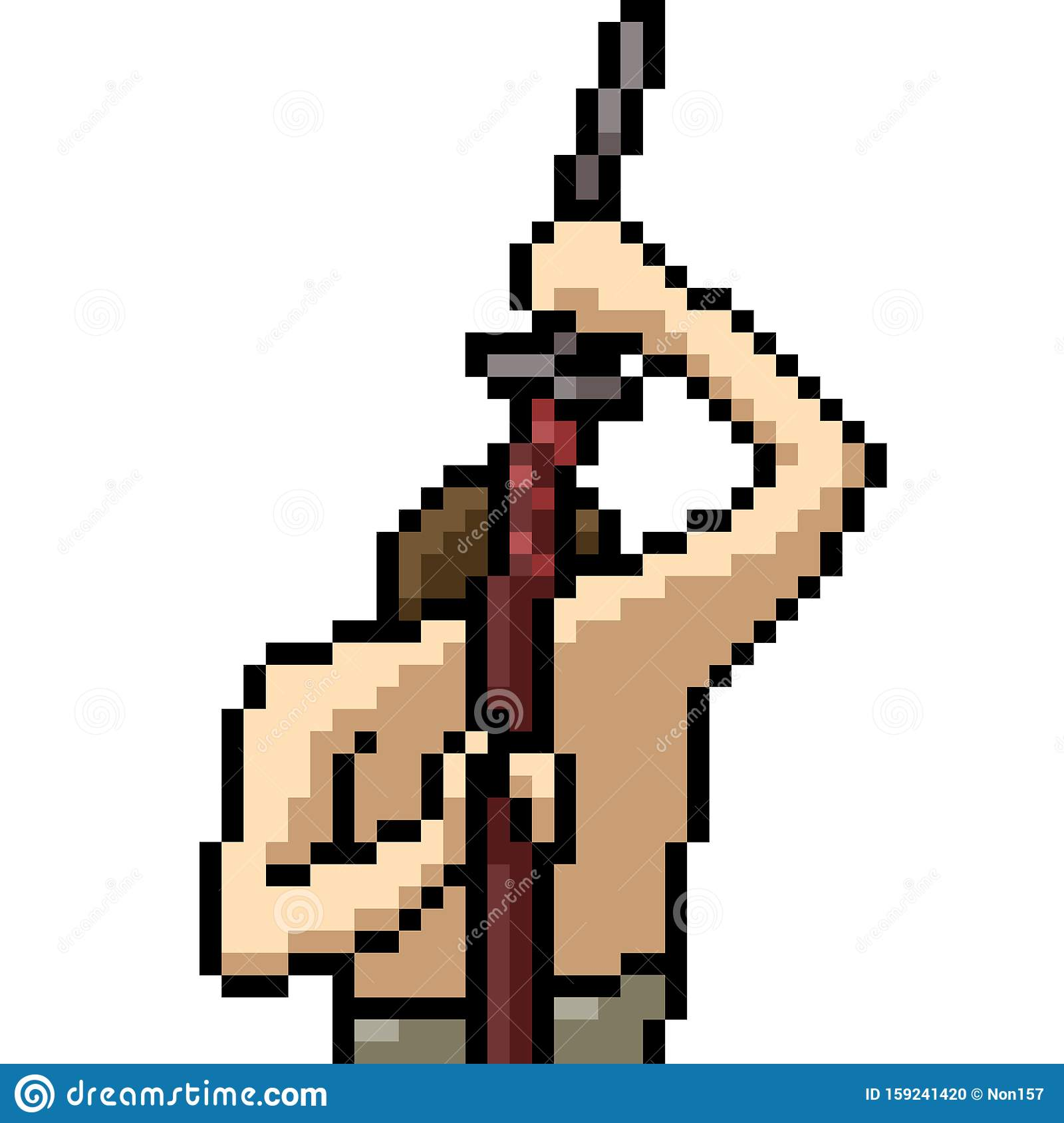 Vector Pixel Art Samurai Sword Stock Vector